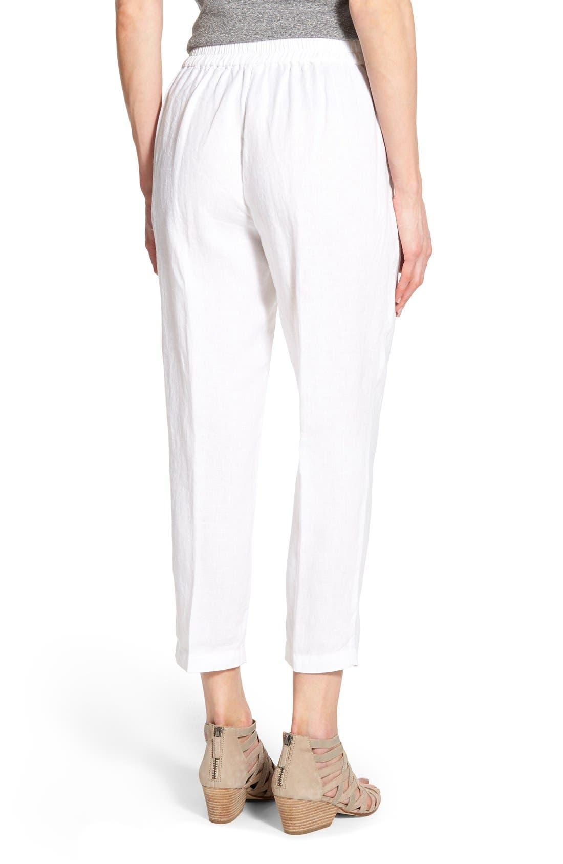 Organic Linen Crop Pants,                             Alternate thumbnail 4, color,                             100
