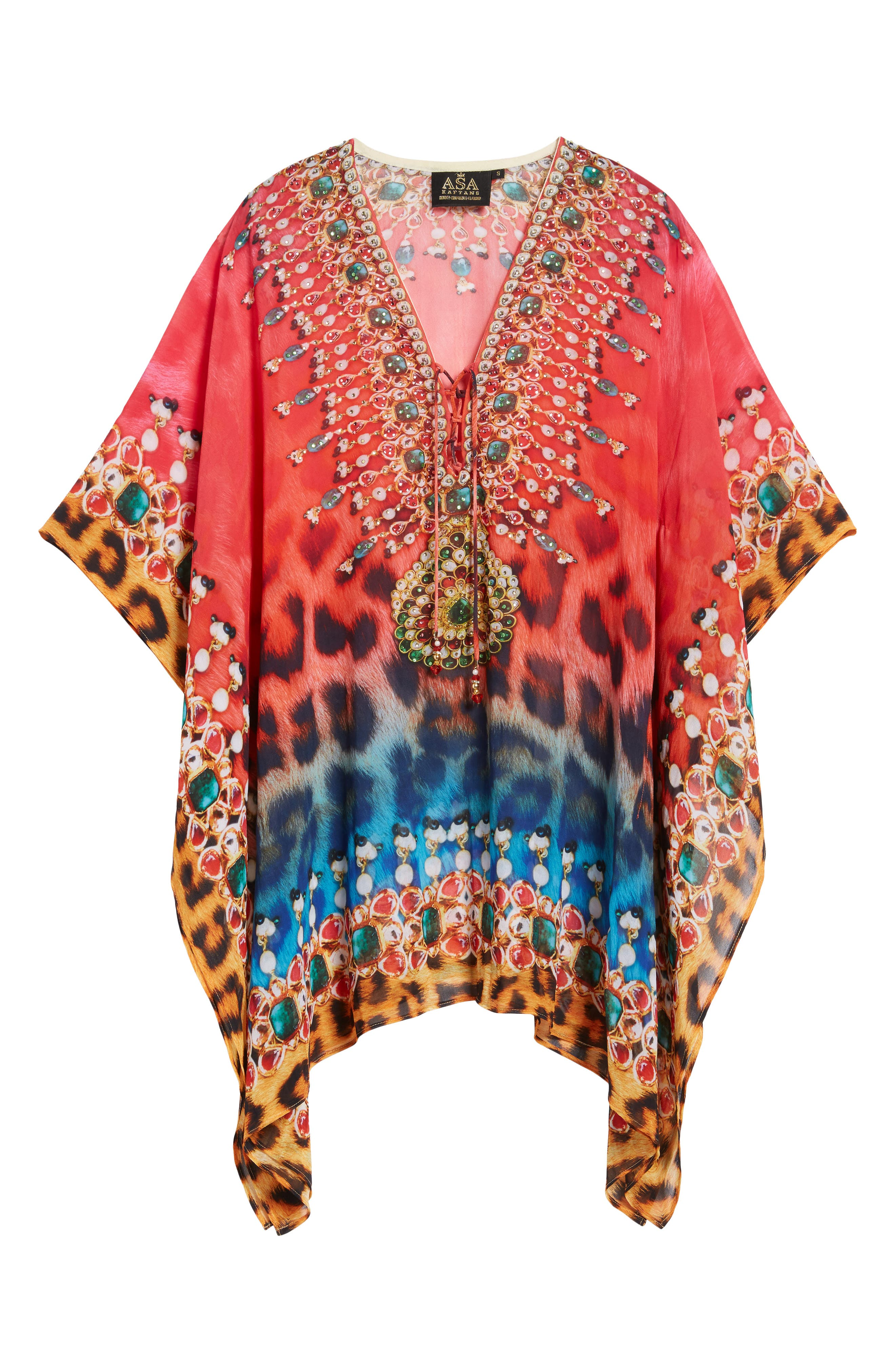 Positano Short Kaftan,                             Alternate thumbnail 7, color,                             RED/BLUE MULTI