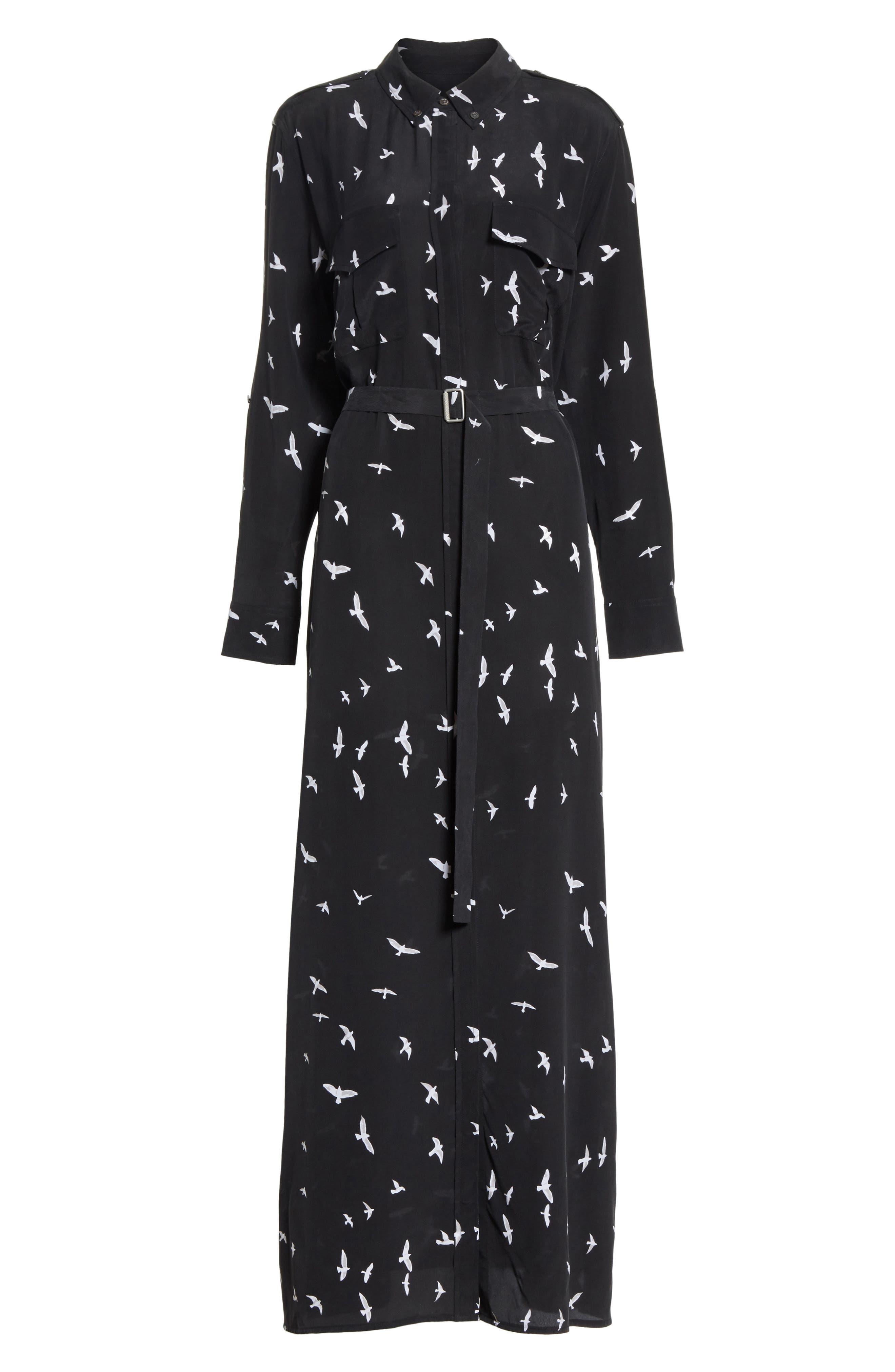 Bird Print Silk Maxi Dress,                             Alternate thumbnail 6, color,                             003