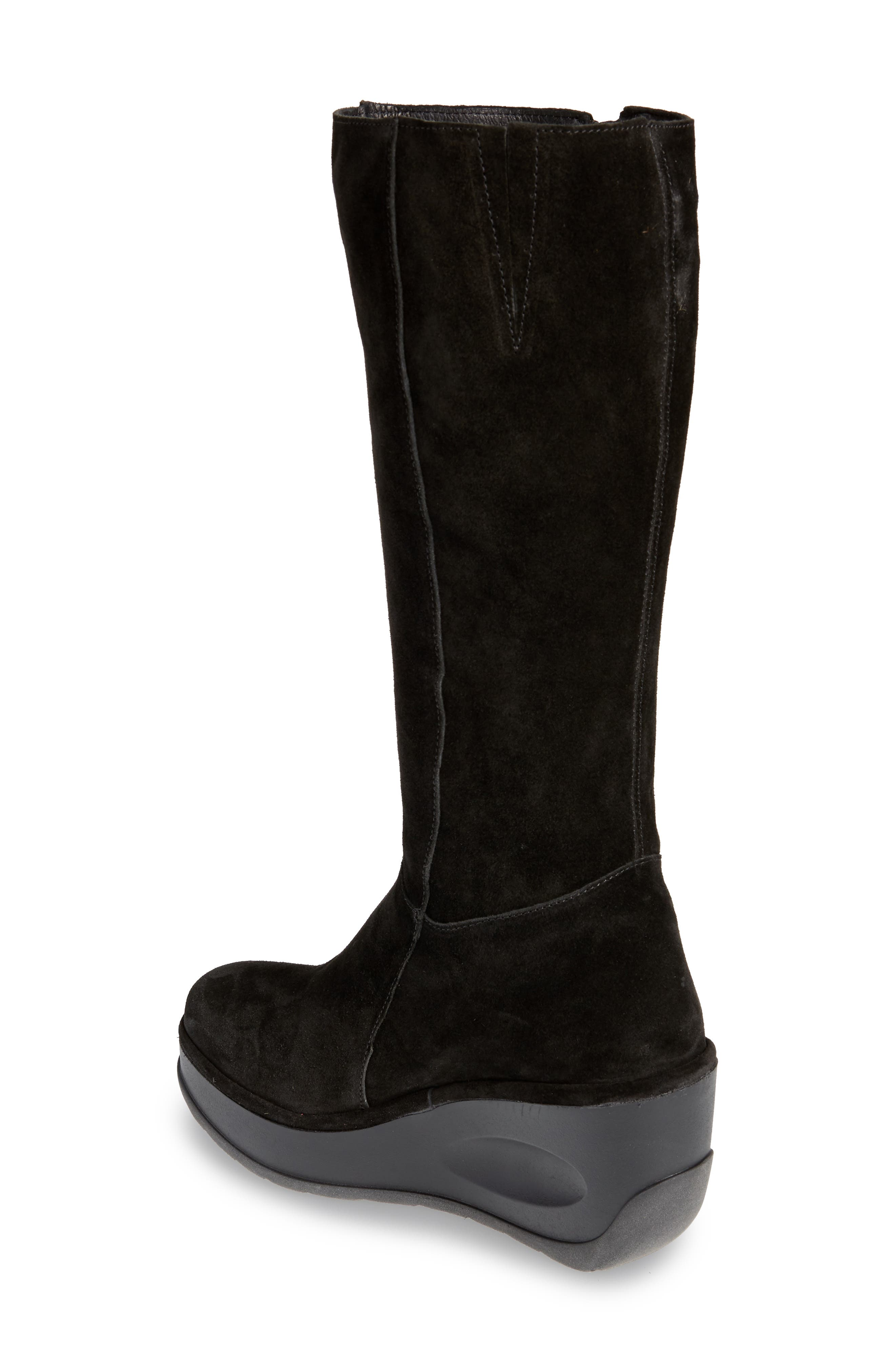 Jate Wedge Boot,                             Alternate thumbnail 2, color,                             BLACK OIL SUEDE