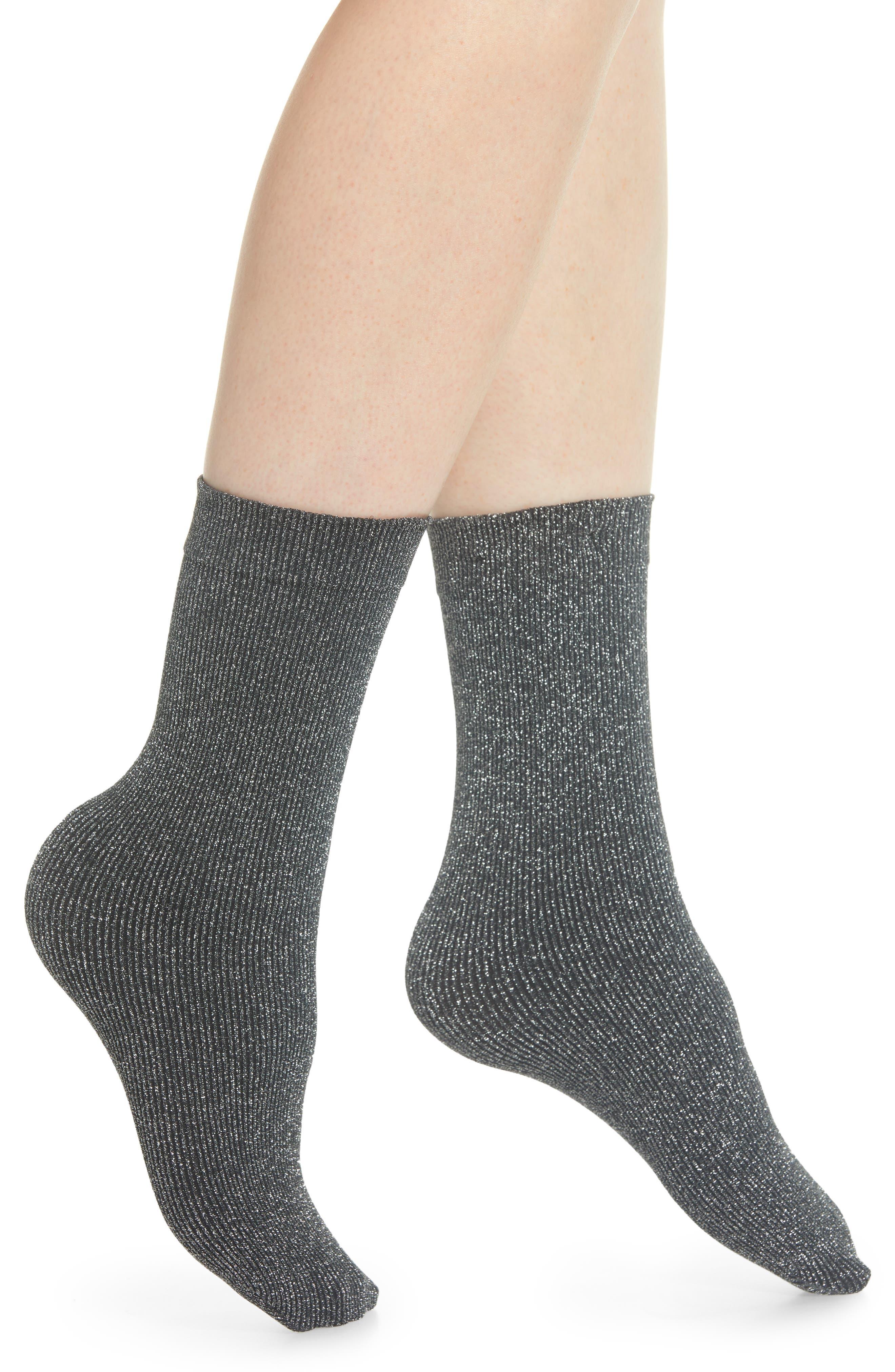 Joan Crew Socks,                         Main,                         color, BLACK/ LUREX