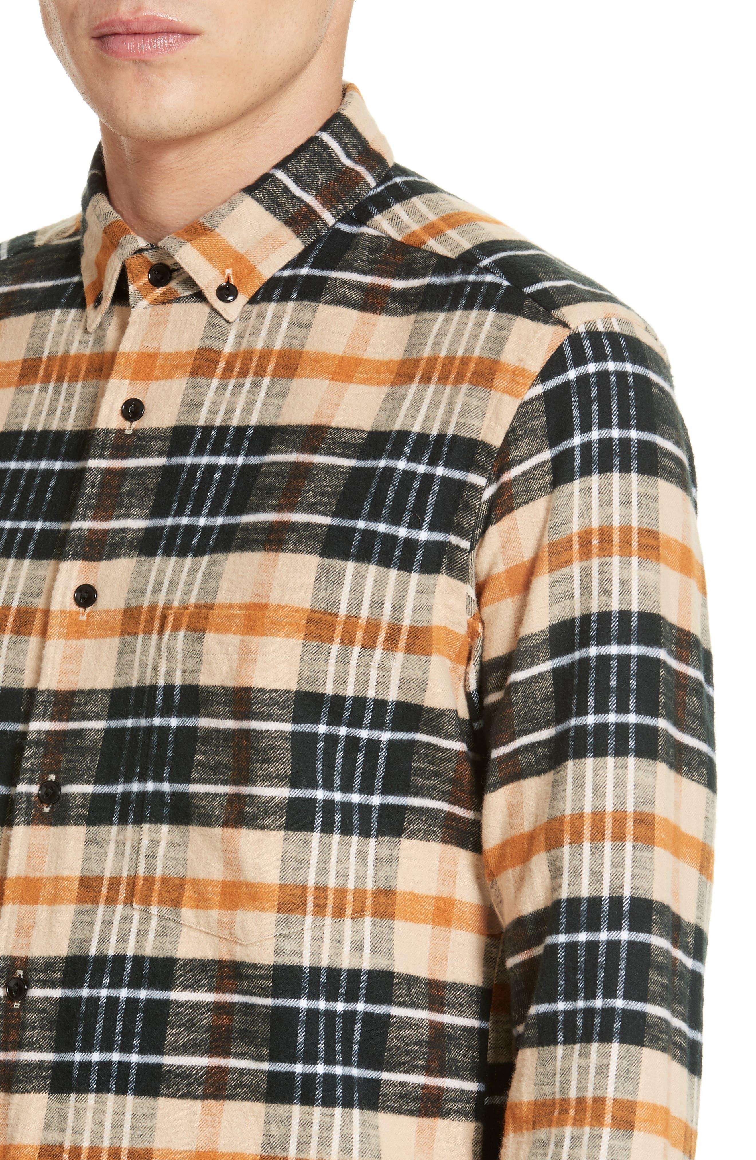 Bradford Plaid Flannel Sport Shirt,                             Alternate thumbnail 4, color,                             270