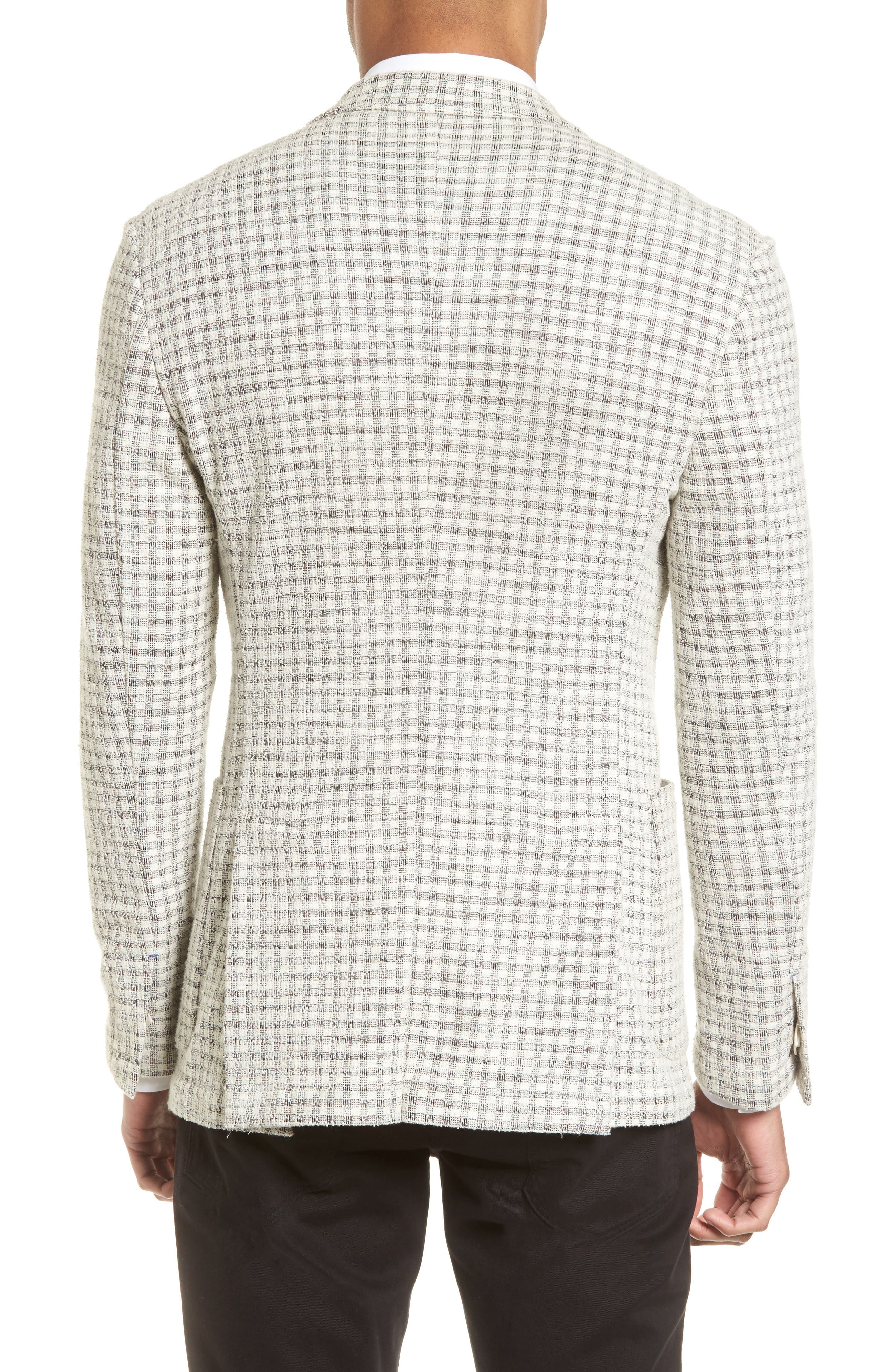 Dell Aria Unconstructed Blazer,                             Alternate thumbnail 2, color,                             GREY CREAM CHECK BOUCLE