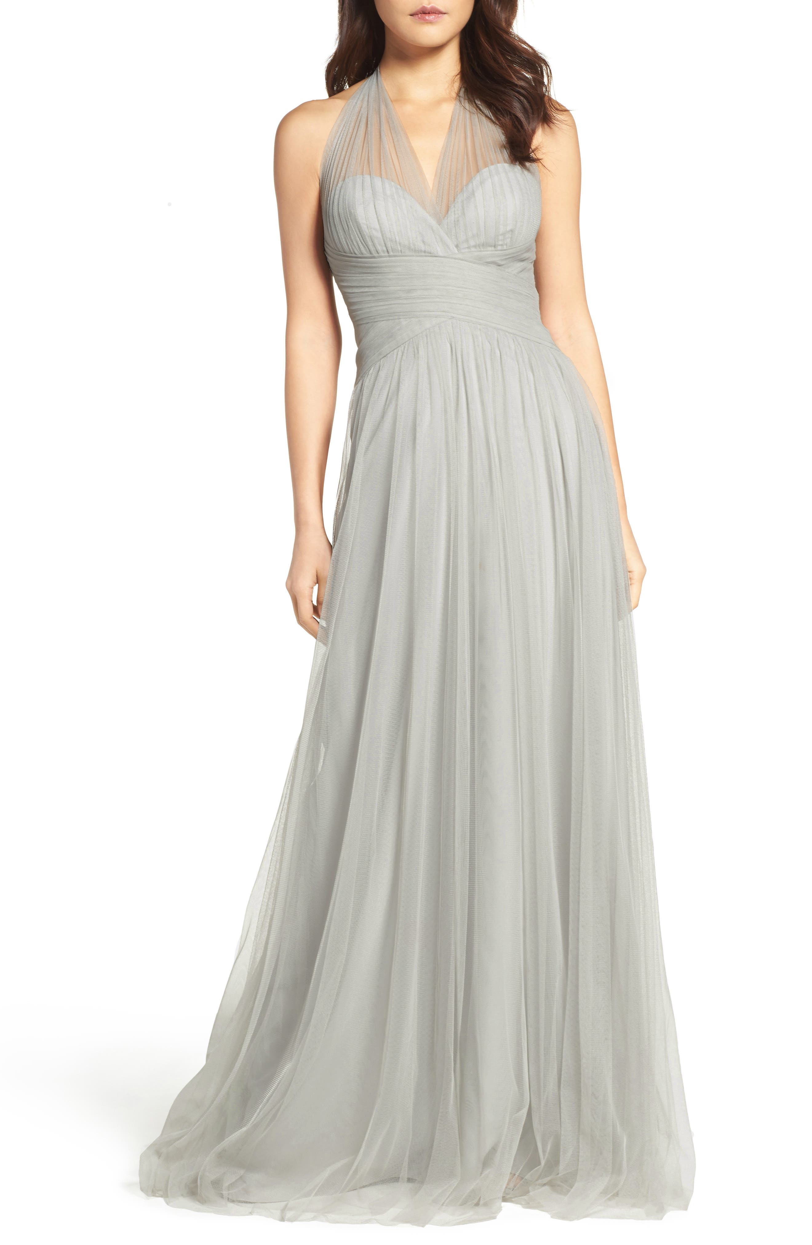 Halter Tulle A-Line Gown,                             Alternate thumbnail 14, color,