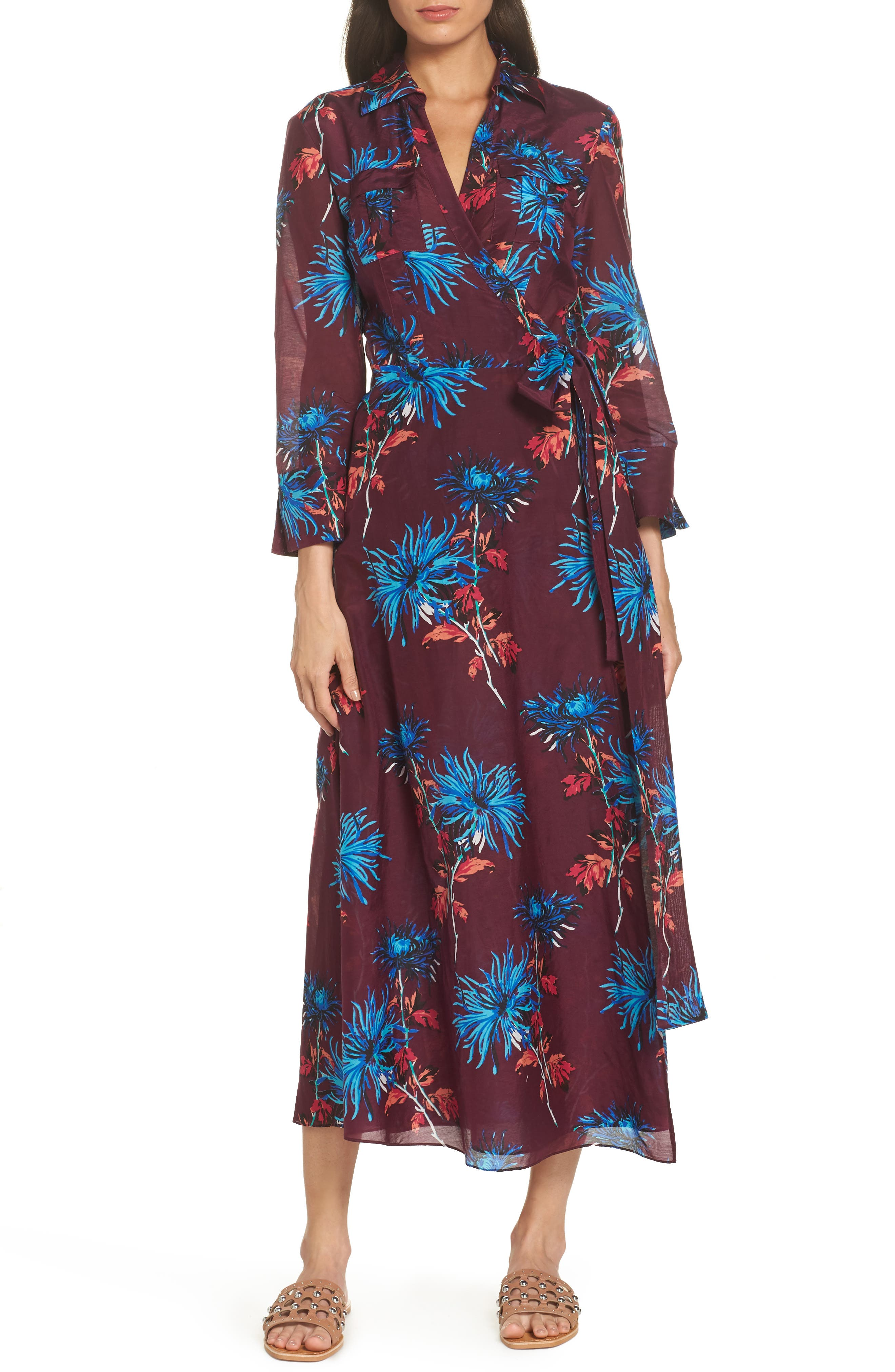 Long Cover-Up Wrap Dress,                             Main thumbnail 1, color,                             BURGUNDY