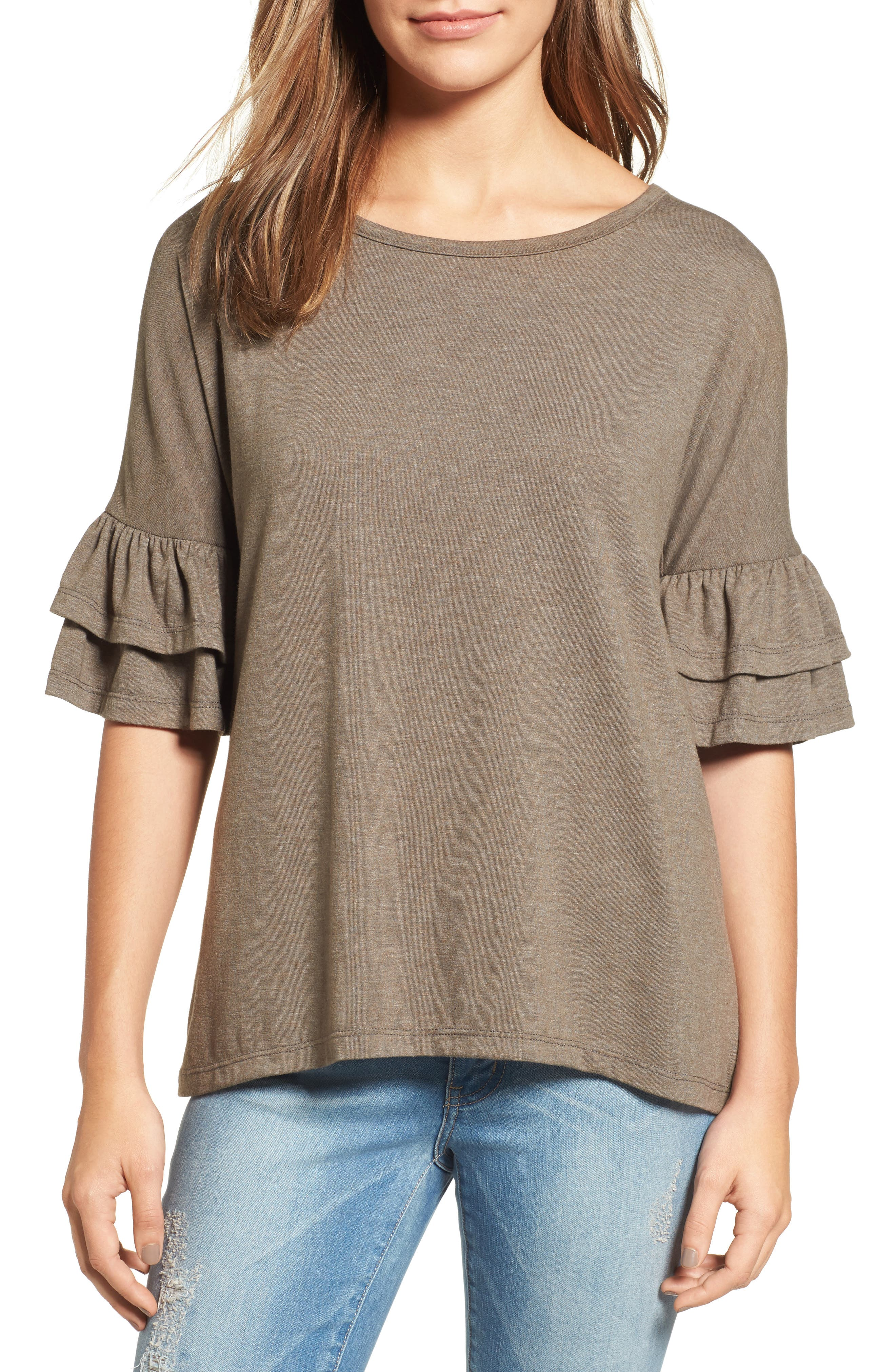Tiered Bell Sleeve Tee,                             Main thumbnail 5, color,