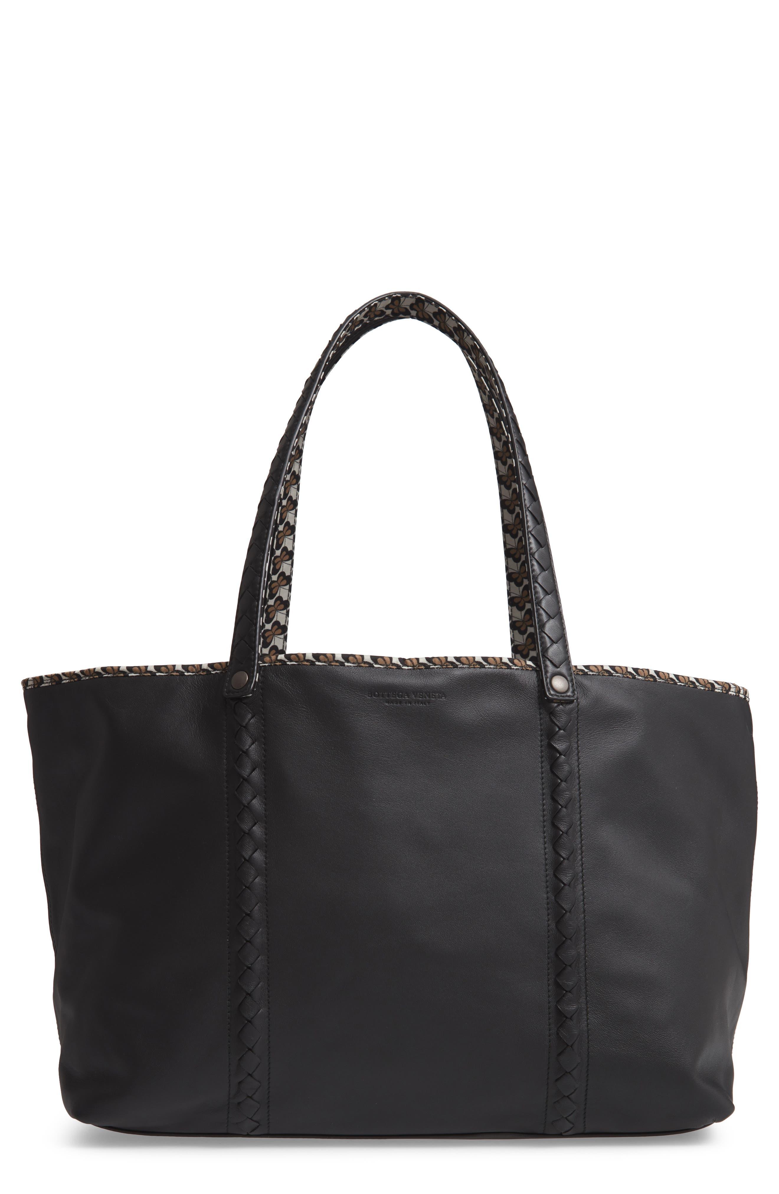 BOTTEGA VENETA Leather Tote, Main, color, NERO/ CEMENT/ CHAMPIGNON