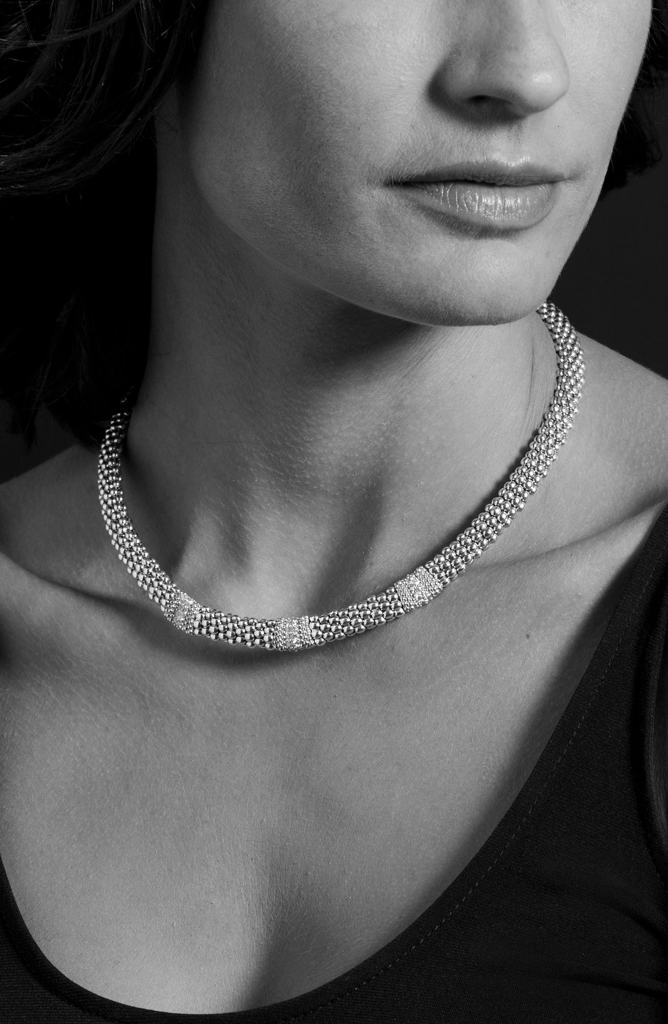 Diamond Lux Triple Station Collar Necklace,                             Alternate thumbnail 5, color,                             SILVER/ DIAMOND