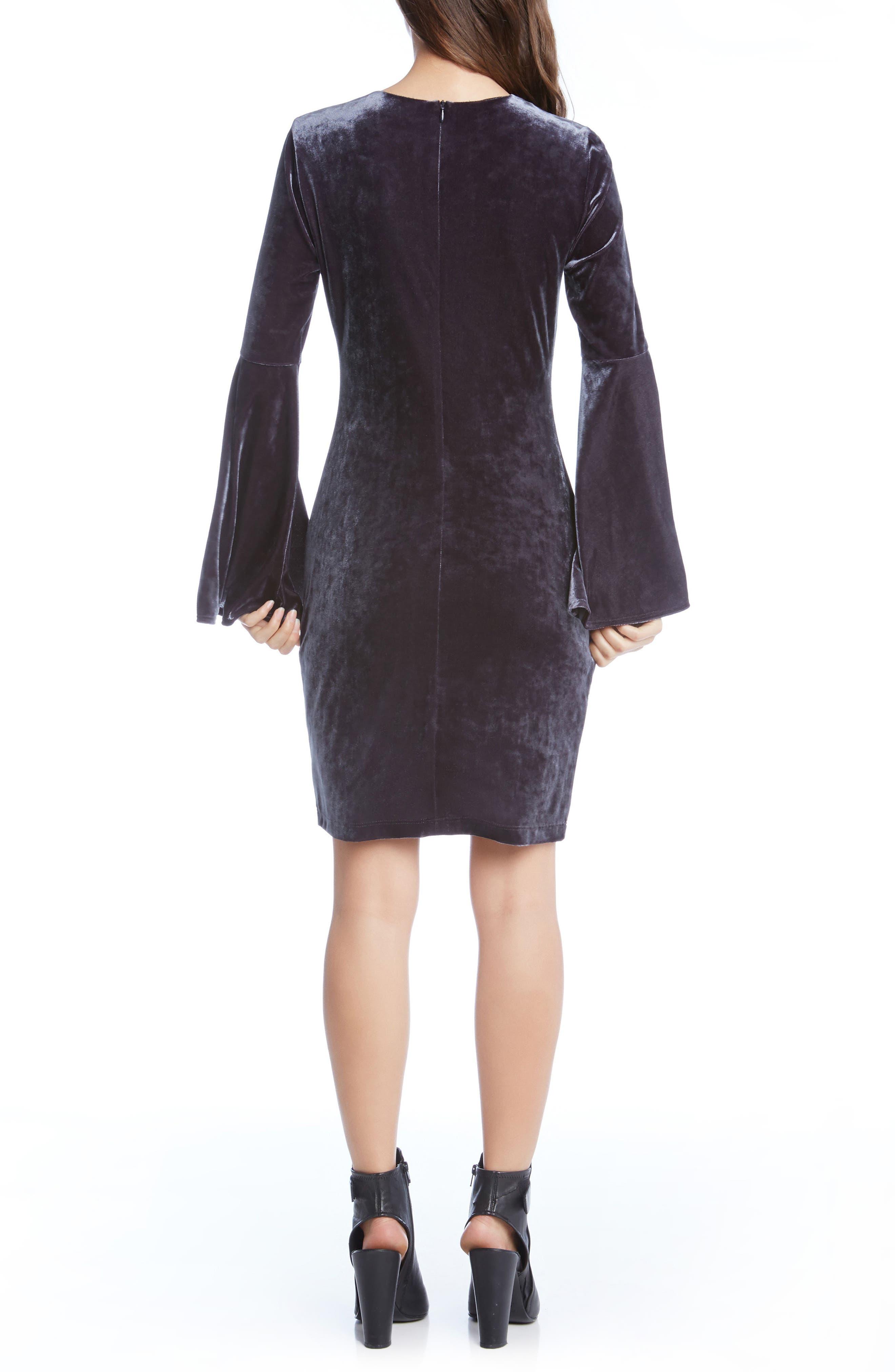 Velvet Bell Sleeve Sheath Dress,                             Alternate thumbnail 2, color,                             020