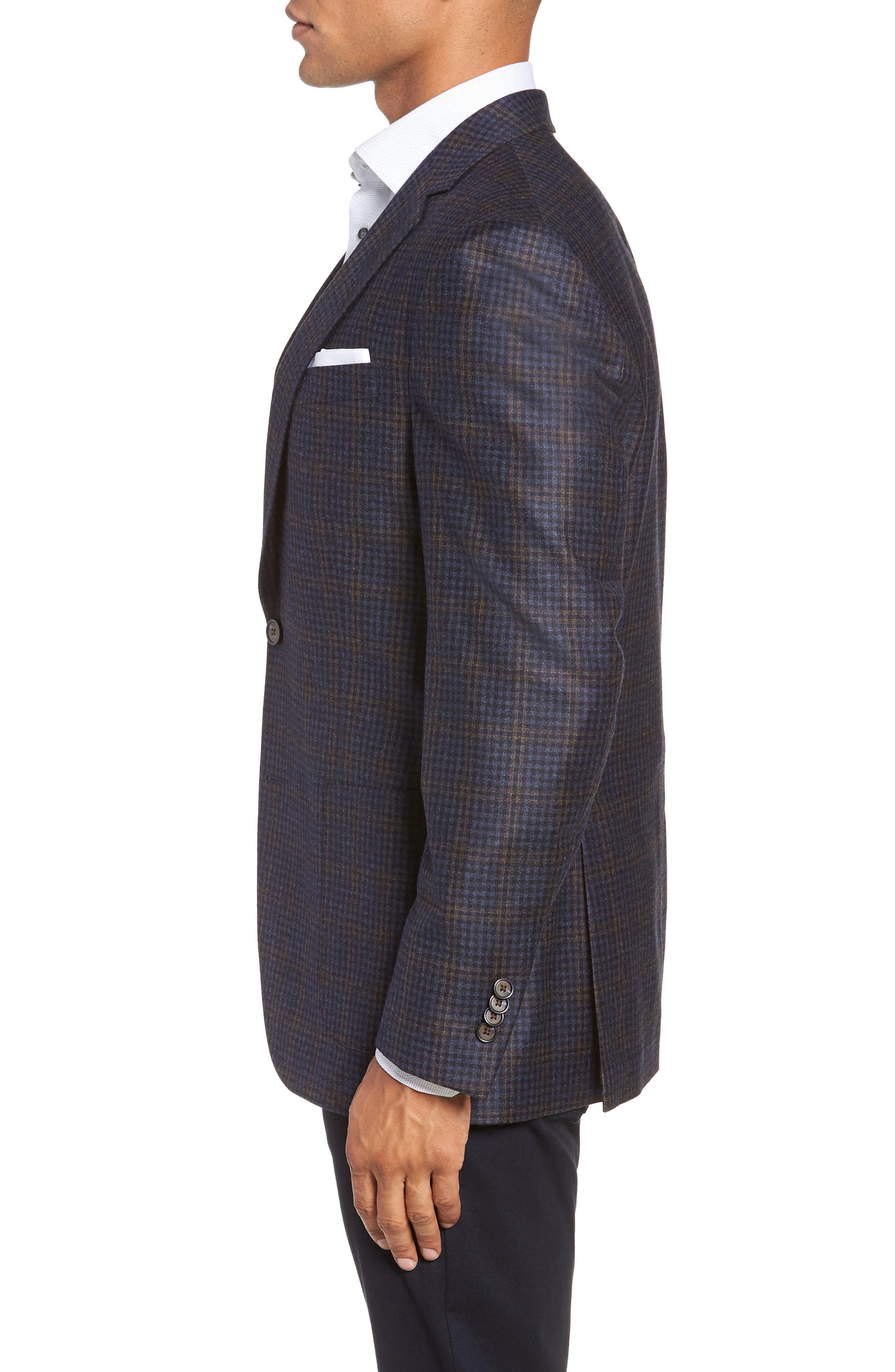 PETER MILLAR,                             Classic Fit Check Wool Sport Coat,                             Alternate thumbnail 3, color,                             NAVY