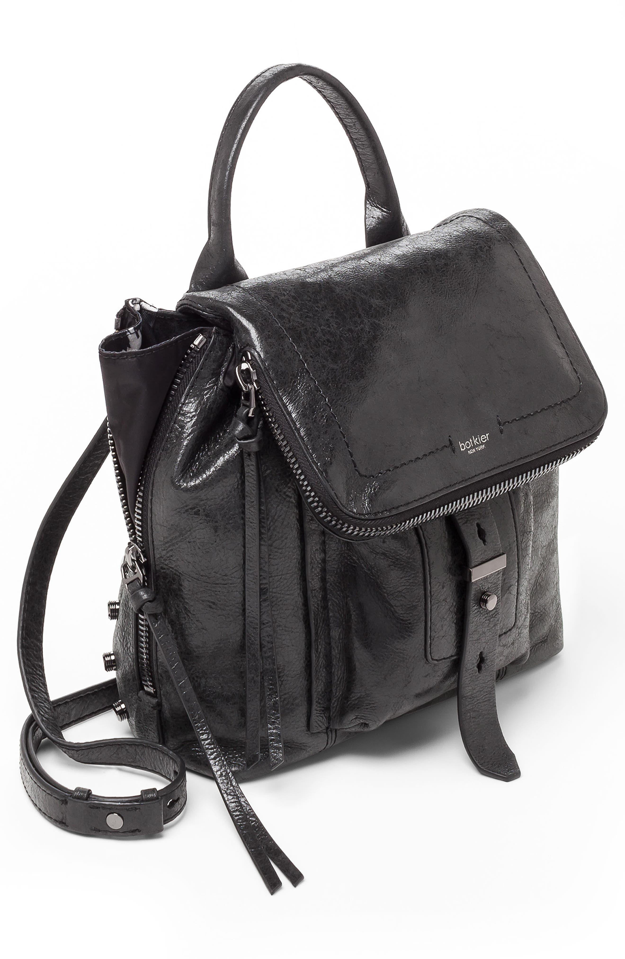 Warren Leather Backpack,                             Alternate thumbnail 3, color,                             001