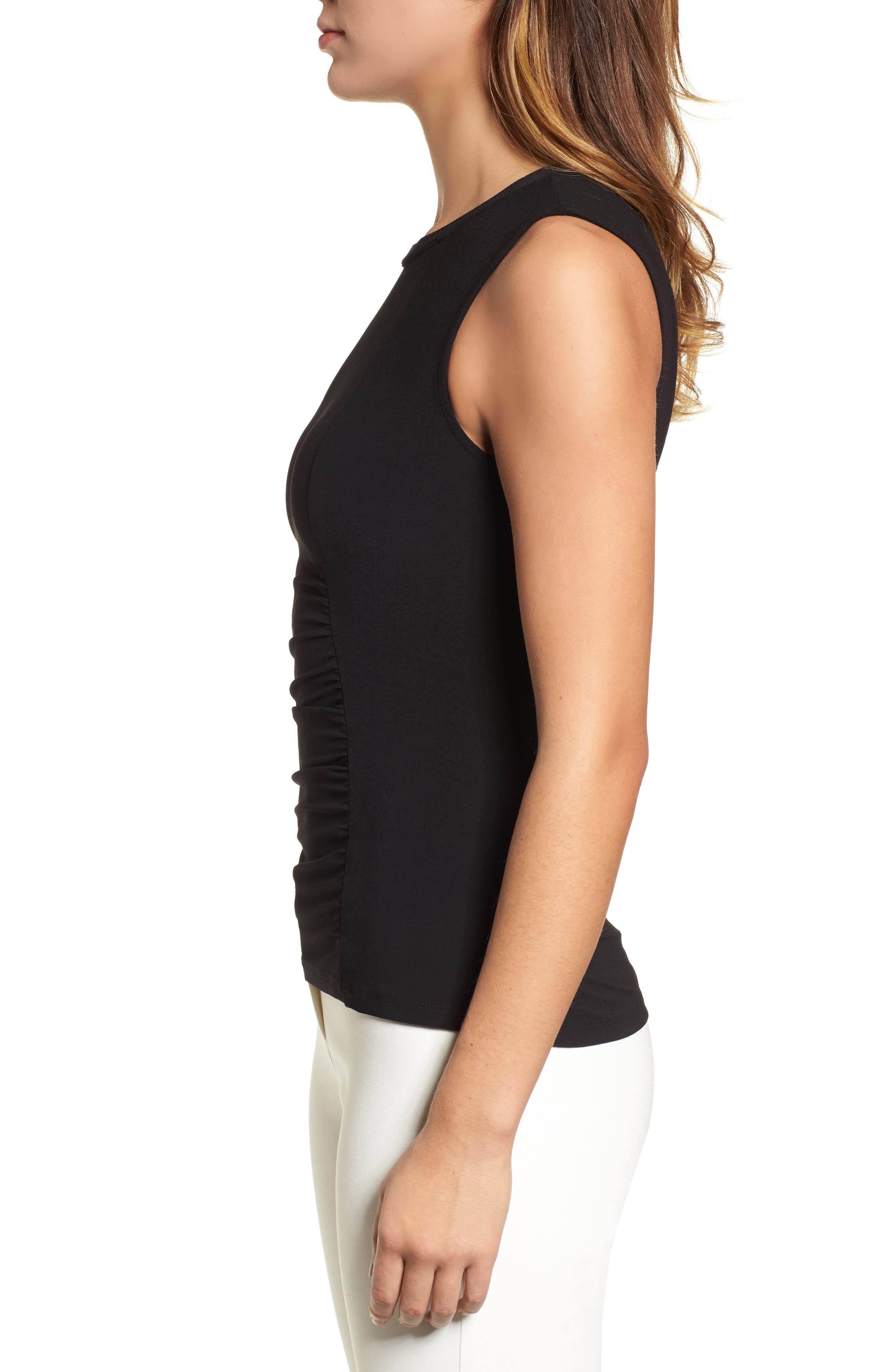 Ann Klein Side Ruched Knit Tank,                             Alternate thumbnail 3, color,                             001
