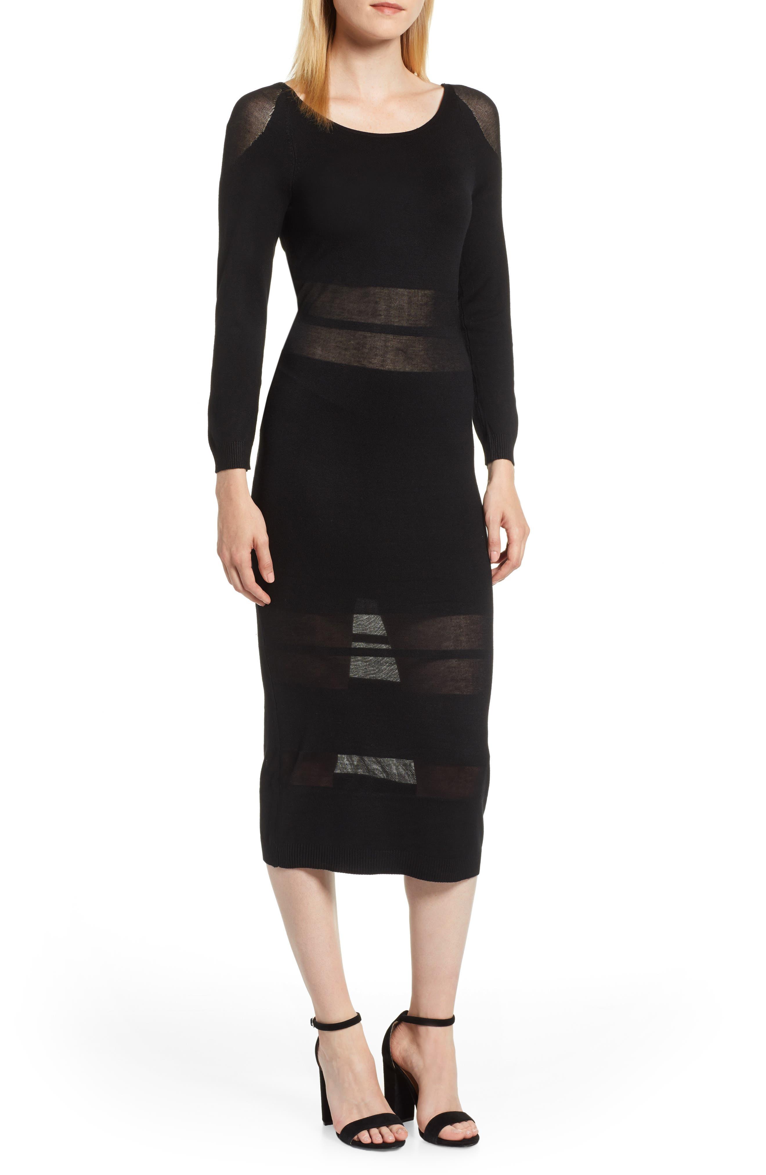 Illusion Stripe Midi Dress,                             Main thumbnail 1, color,                             BLACK