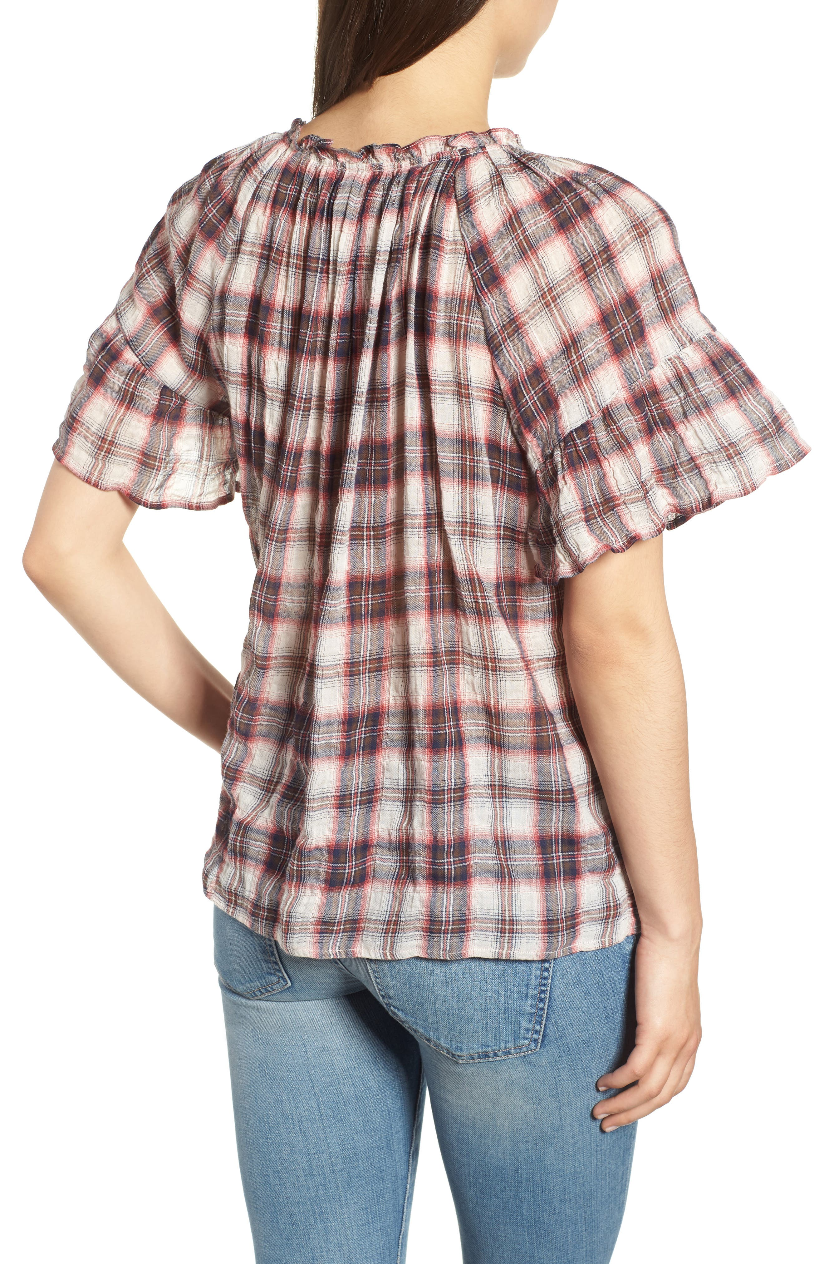 Flutter Sleeve Plaid Top,                             Alternate thumbnail 2, color,                             623