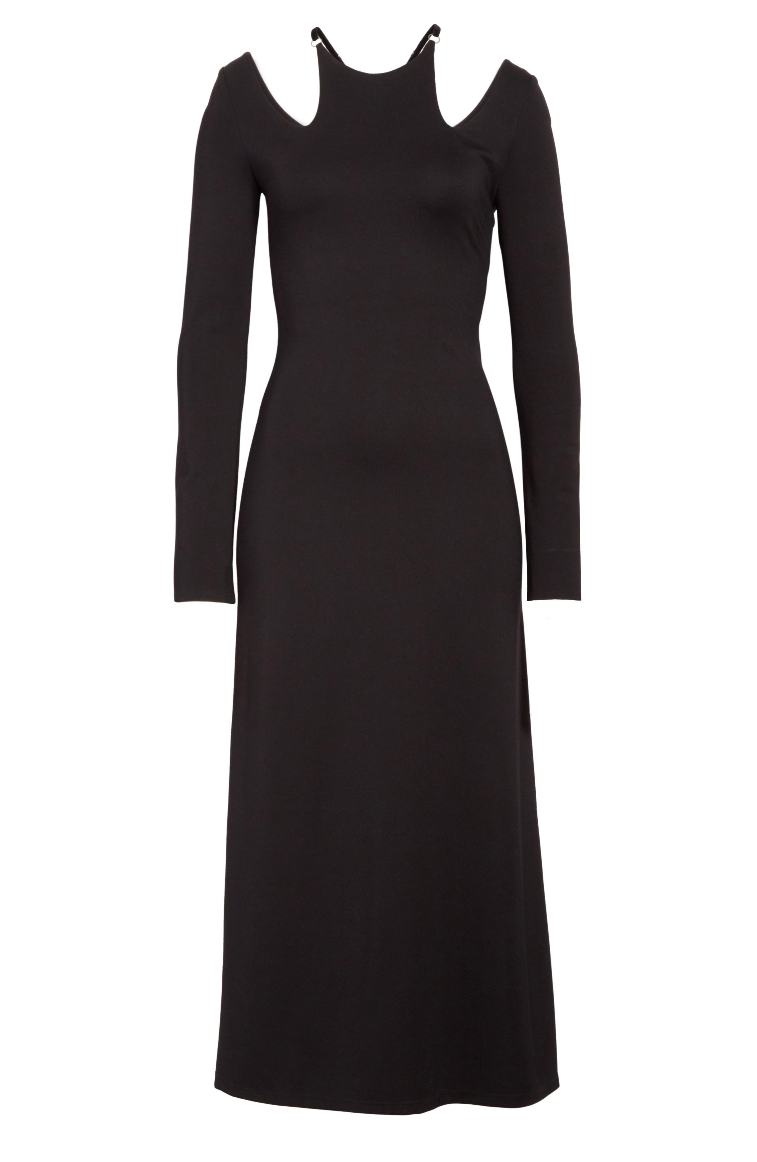 Jessa Cutout Midi Dress,                             Alternate thumbnail 6, color,                             001
