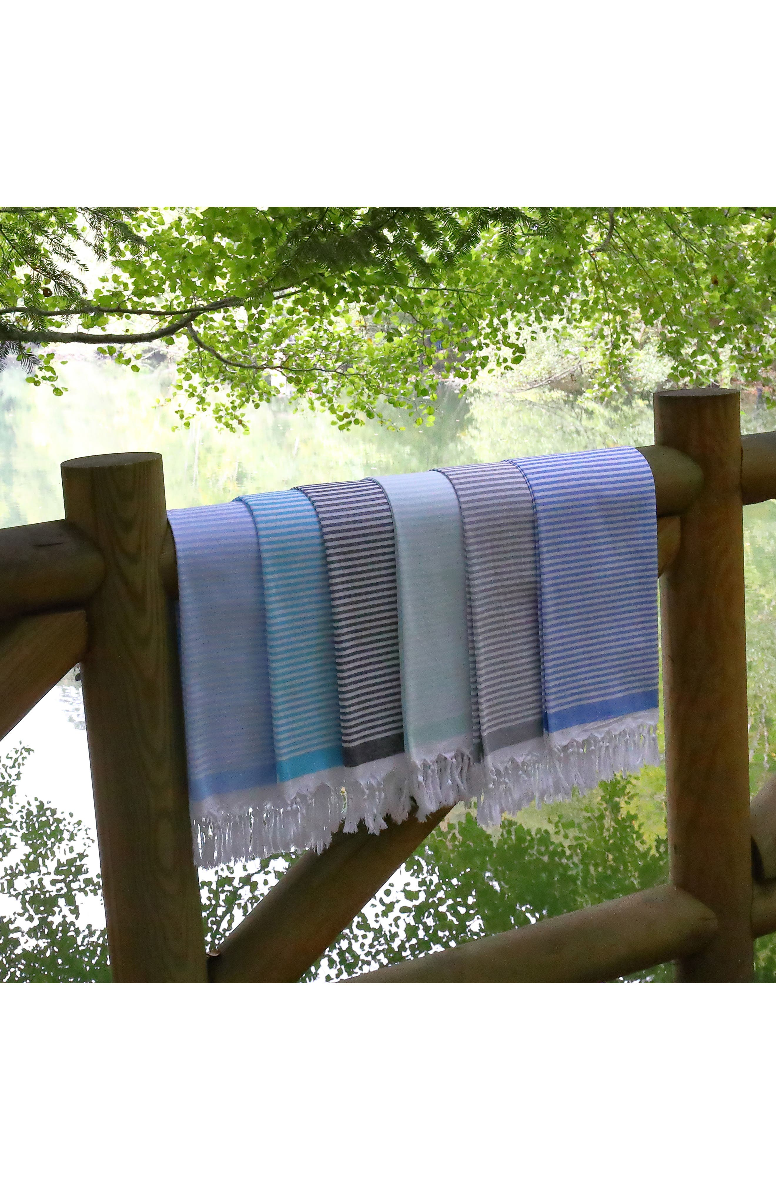 Soft Stripes Turkish Pestemal Towel,                             Alternate thumbnail 8, color,                             BLACK