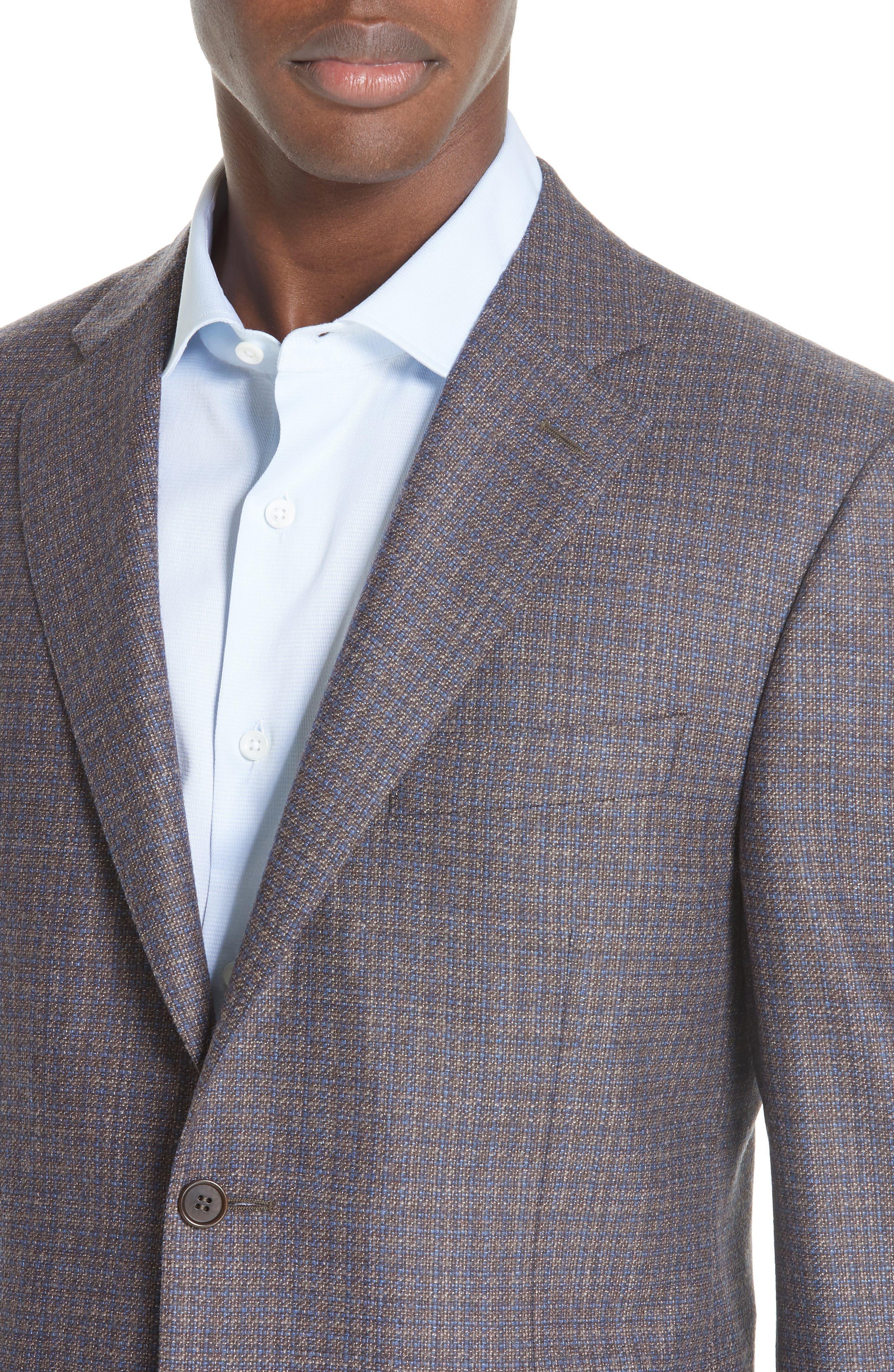Classic Fit Check Wool & Cashmere Sport Coat,                             Alternate thumbnail 4, color,                             BROWN/ BLUE