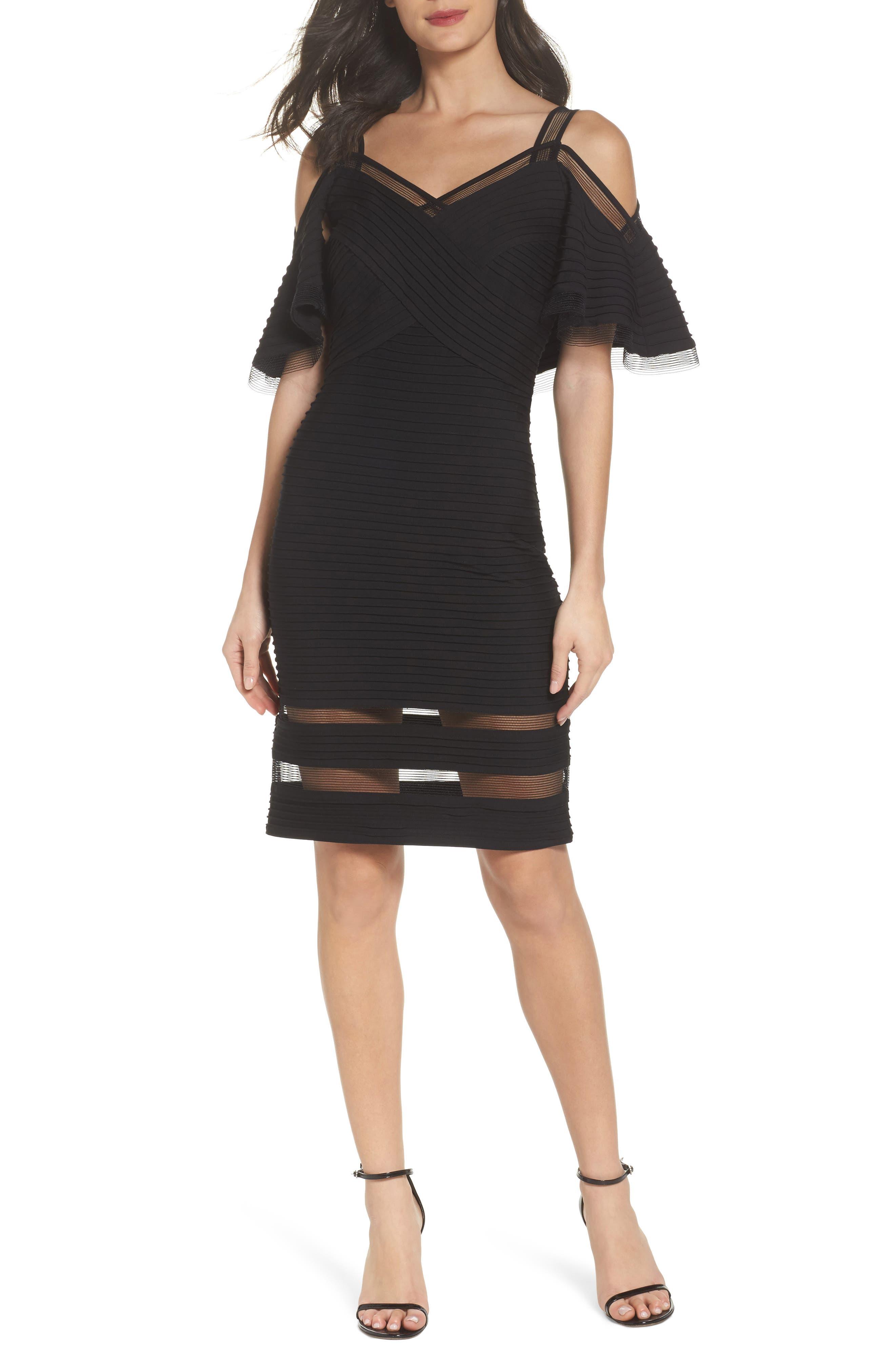 Cold Shoulder Cocktail Dress,                             Main thumbnail 1, color,