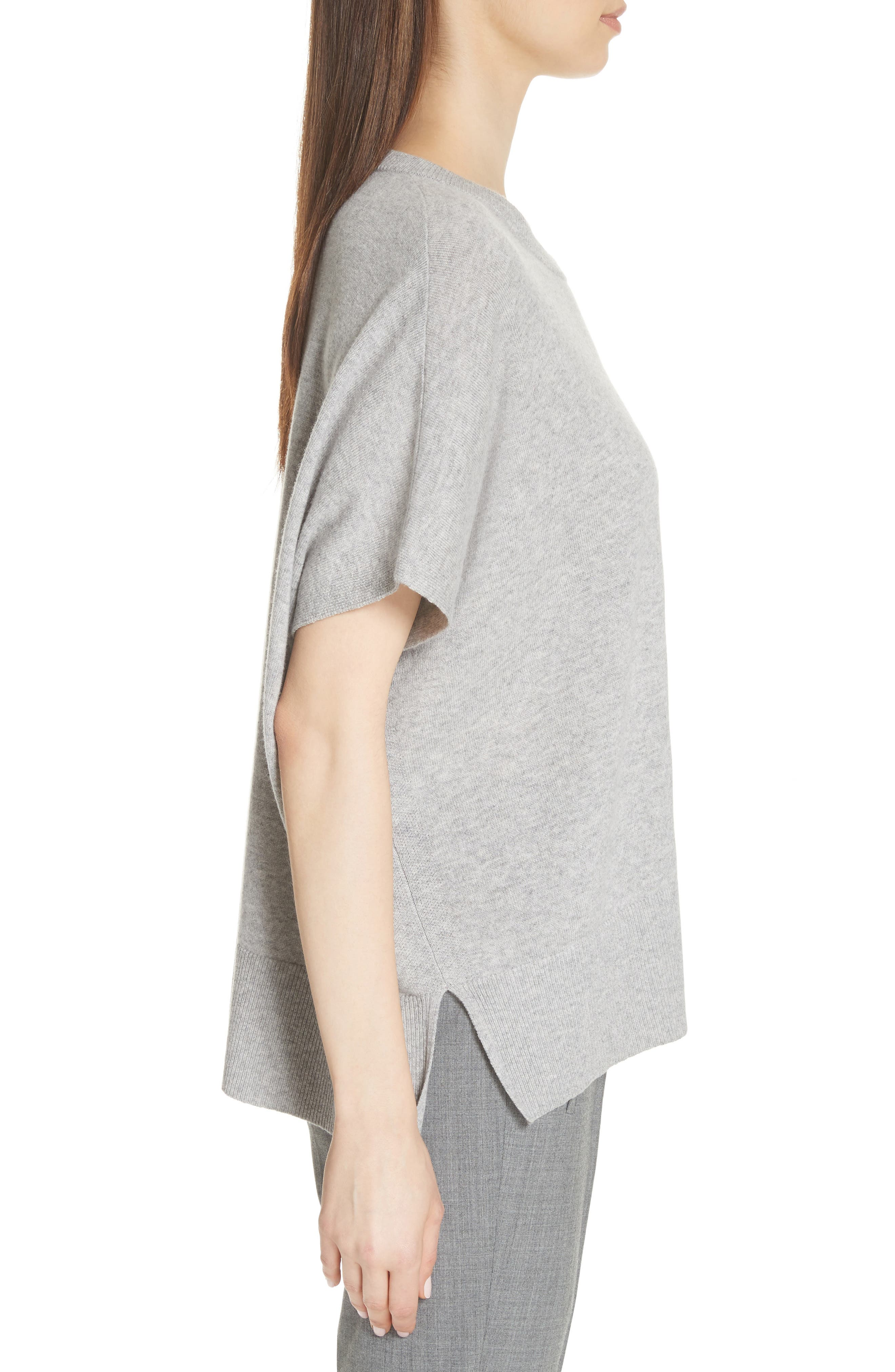 Cashmere Draped Pullover,                             Alternate thumbnail 3, color,                             PEARL GREY MELANGE