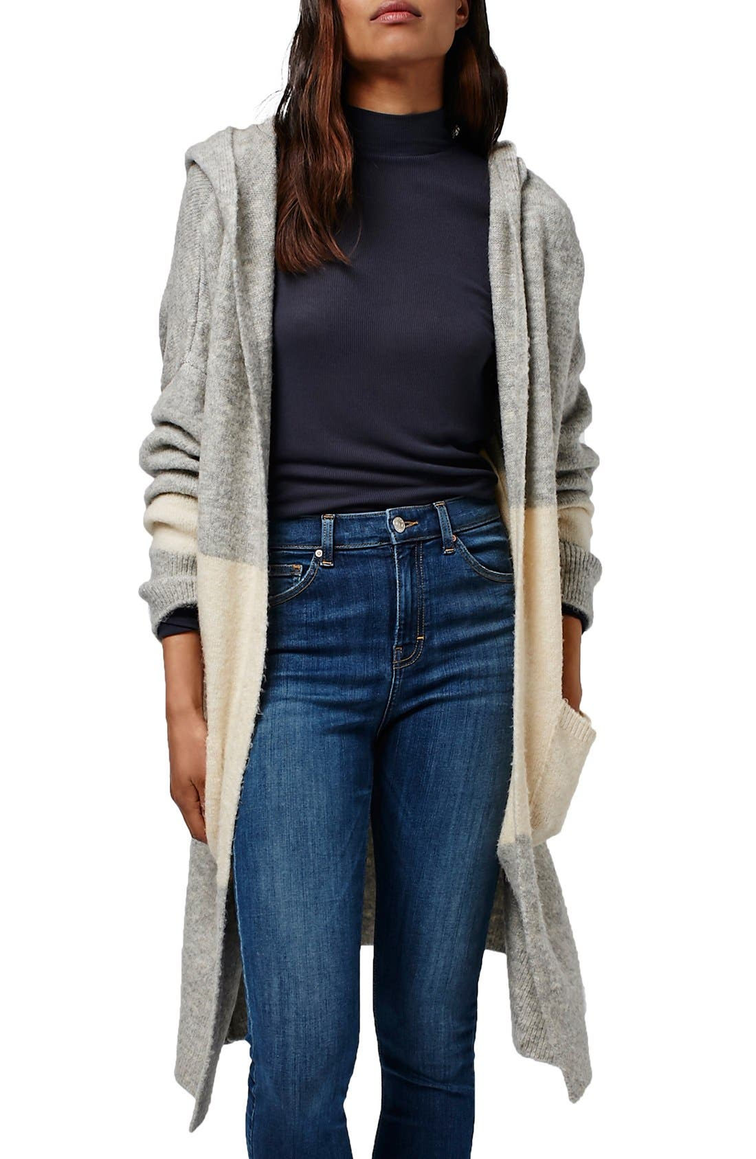 Hooded Colorblock Duster Cardigan, Main, color, 020