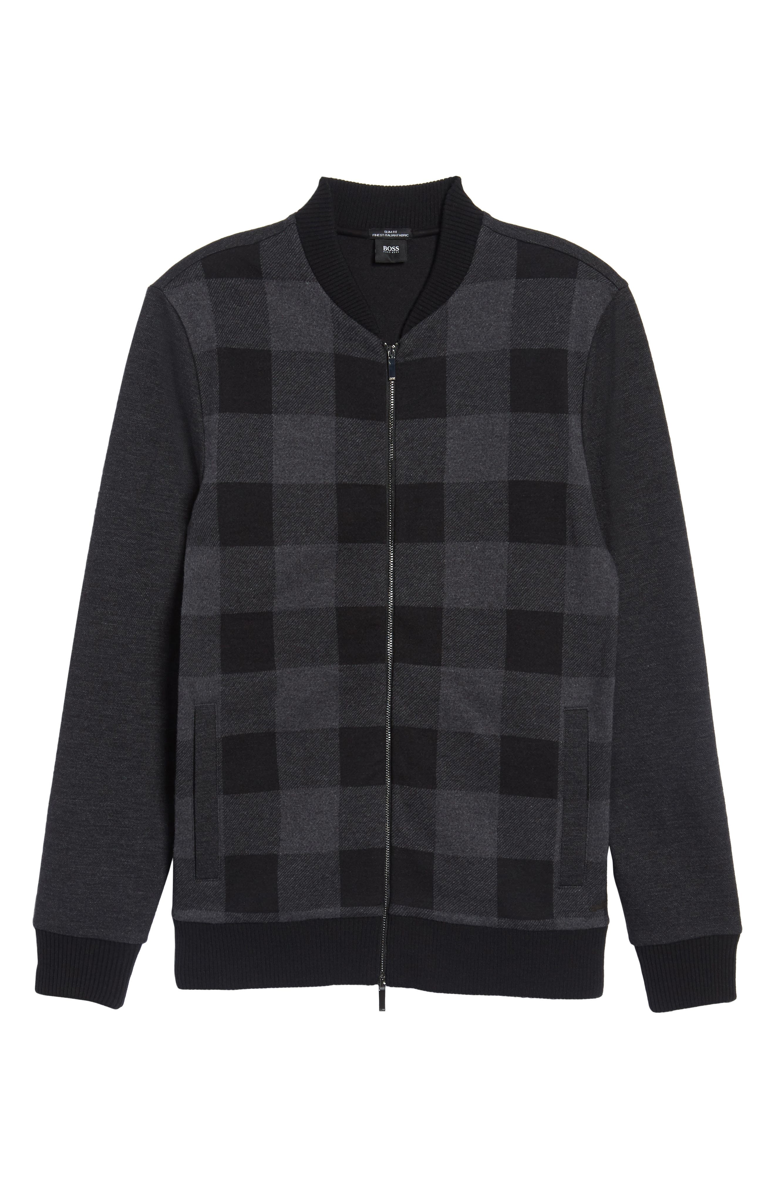 Salea Check Wool Blend Bomber Jacket,                             Alternate thumbnail 5, color,                             001