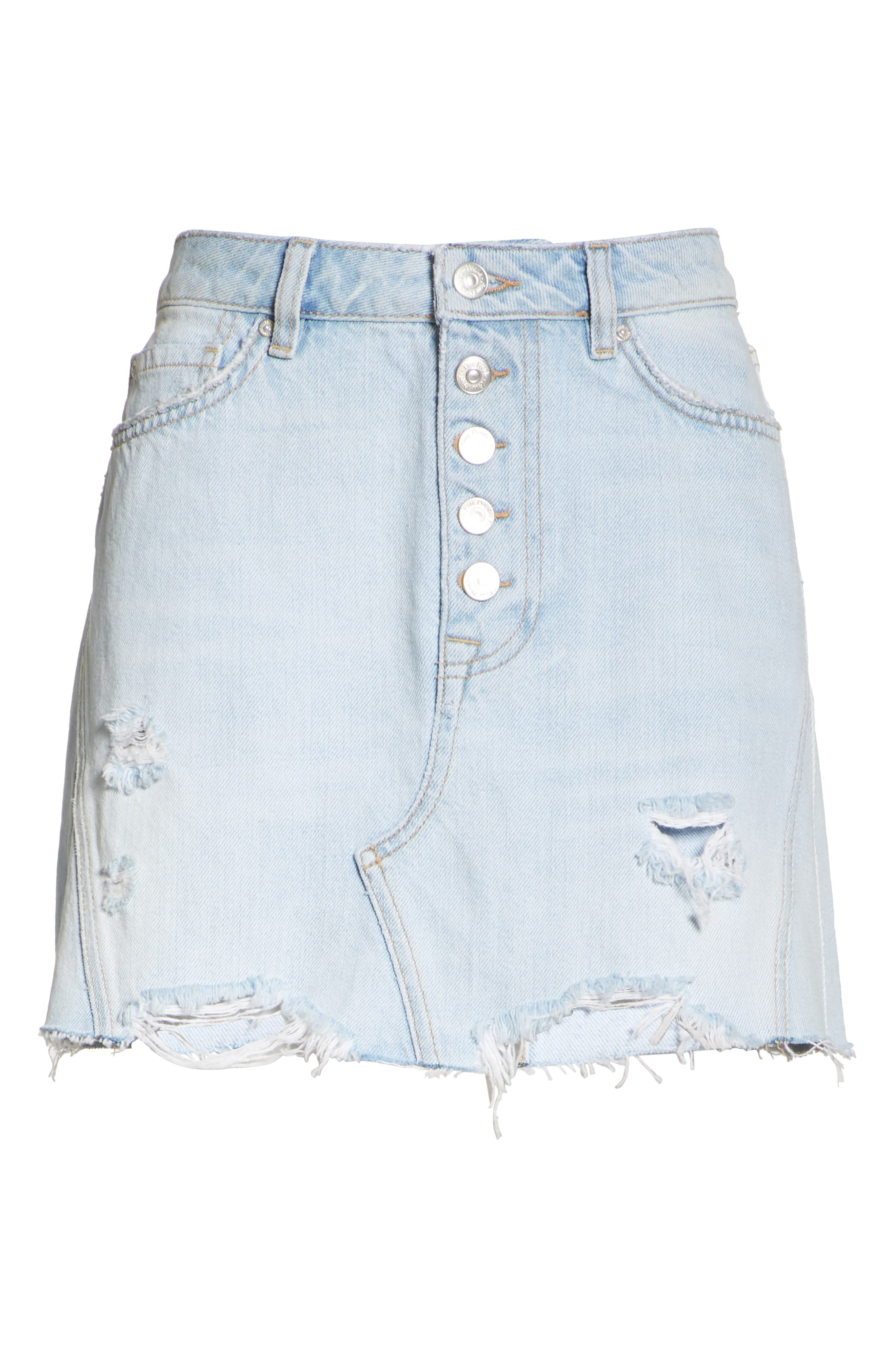We the Free by Free People Denim A-Line Skirt,                             Alternate thumbnail 6, color,                             LIGHT DENIM