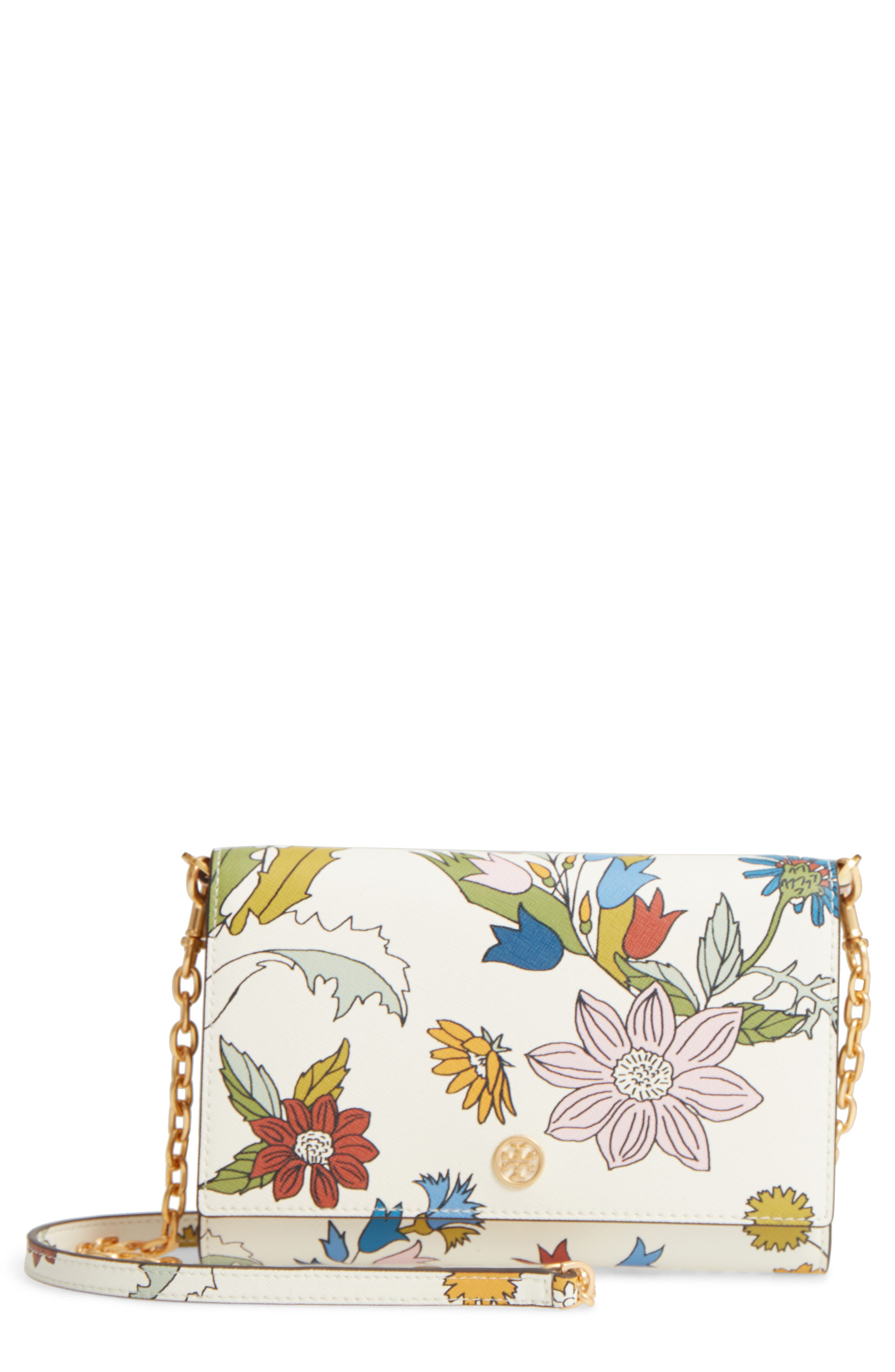 Robinson Floral Leather Wallet on a Chain,                         Main,                         color, IVORY MEADOW SWEET