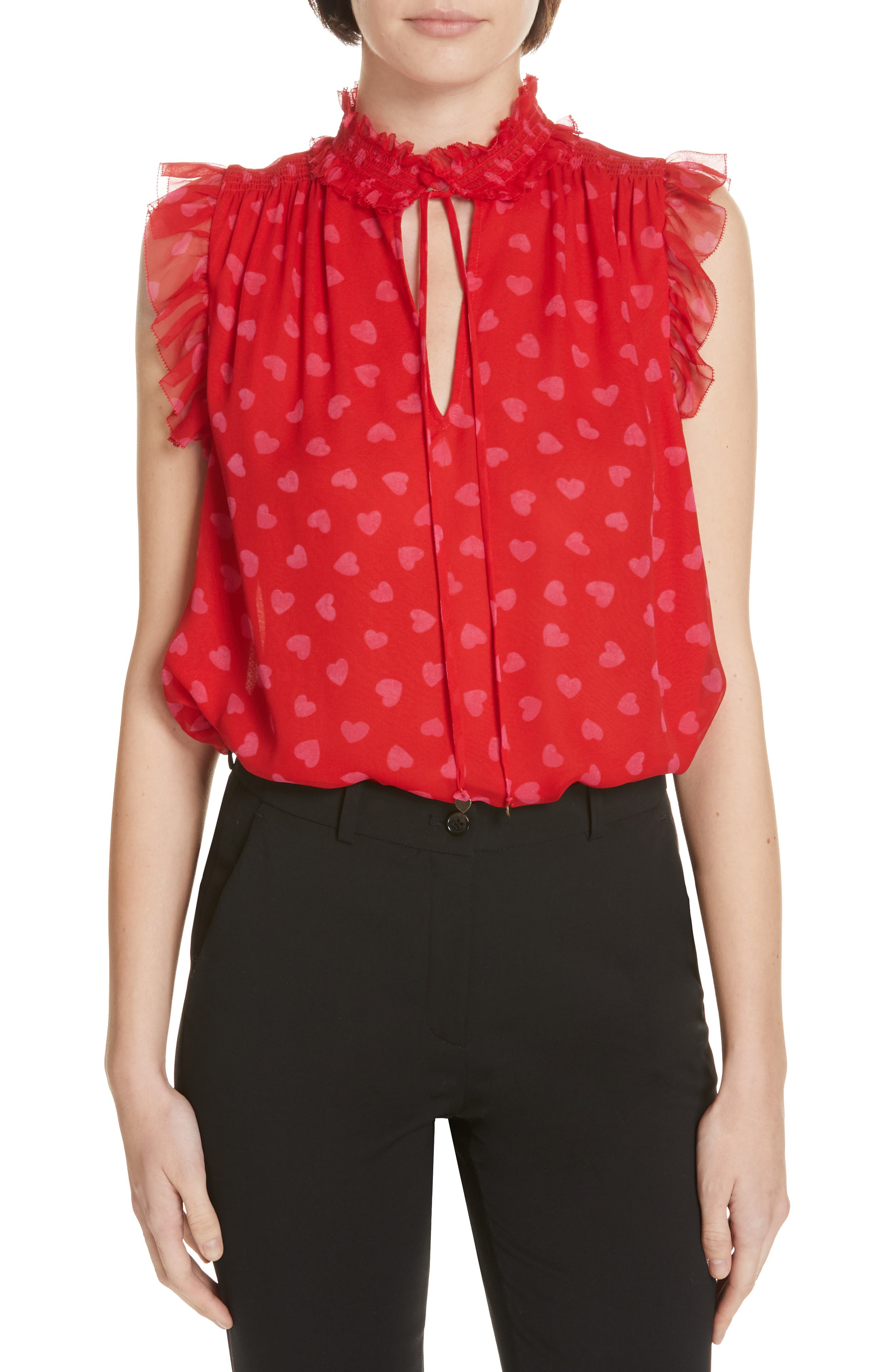 heartbeat silk top, Main, color, ENGINE RED