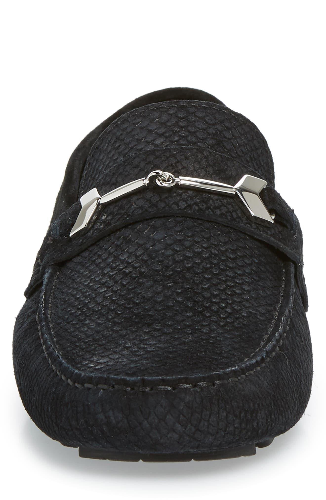Brewer Croc Textured Driving Loafer,                             Alternate thumbnail 4, color,                             BLACK/BLACK
