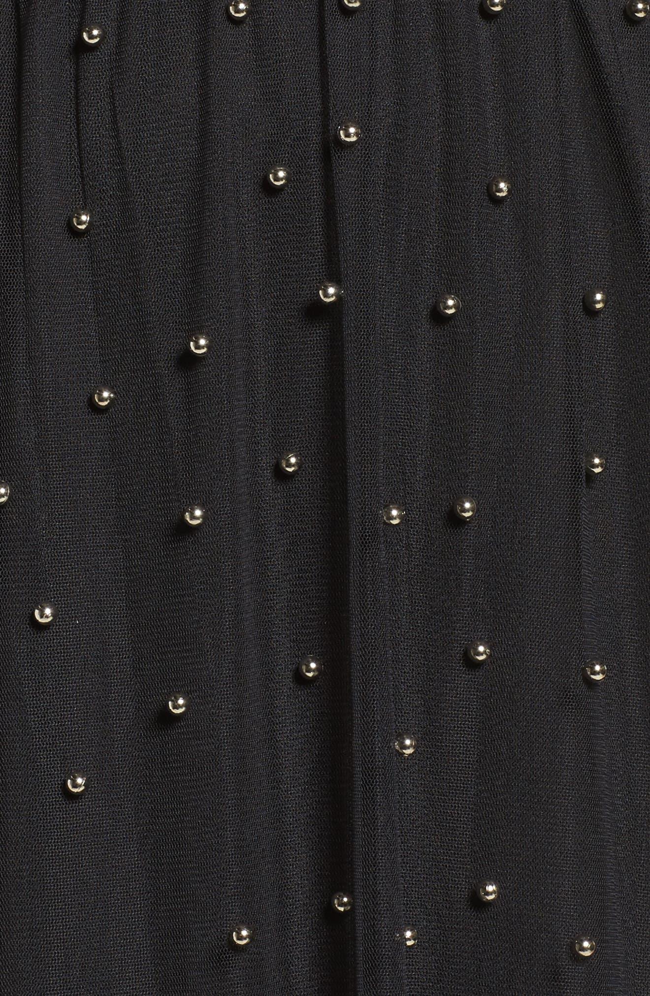 Beaded Mesh Midi Dress,                             Alternate thumbnail 5, color,                             001