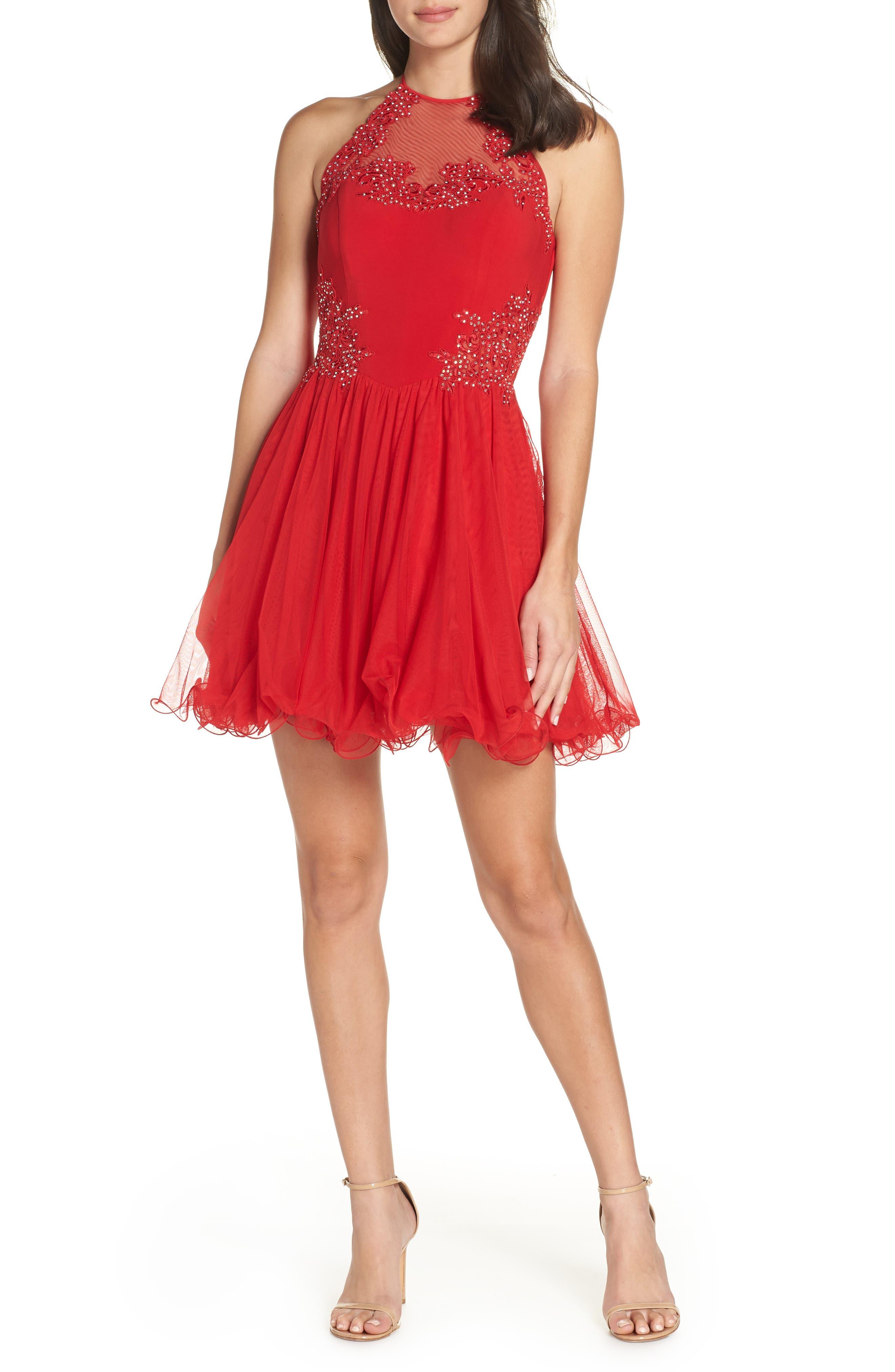 Blondie Nites Applique Mesh Fit & Flare Halter Dress, Red
