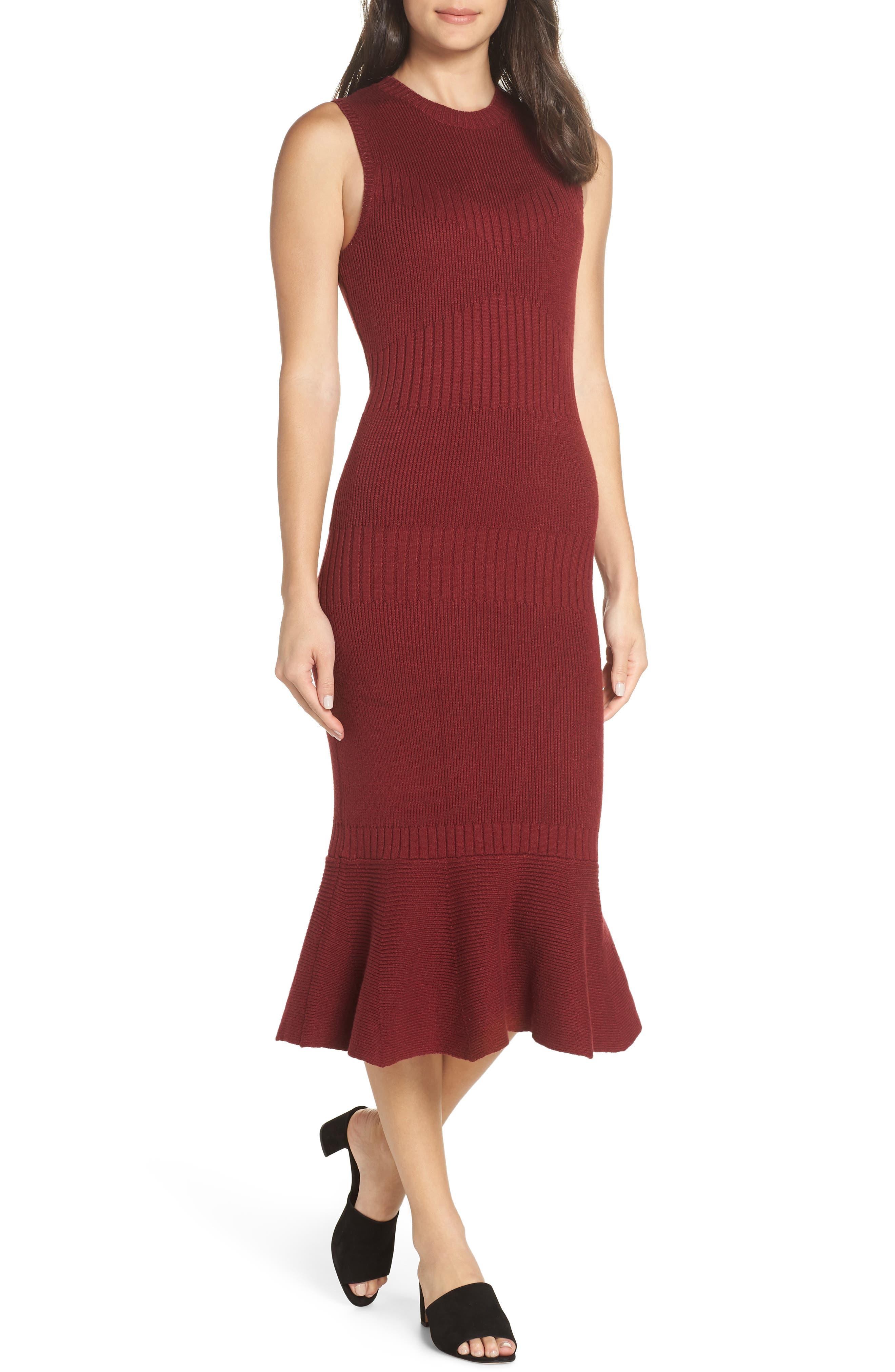 ADELYN RAE Inez Sweater Dress in Cabernet