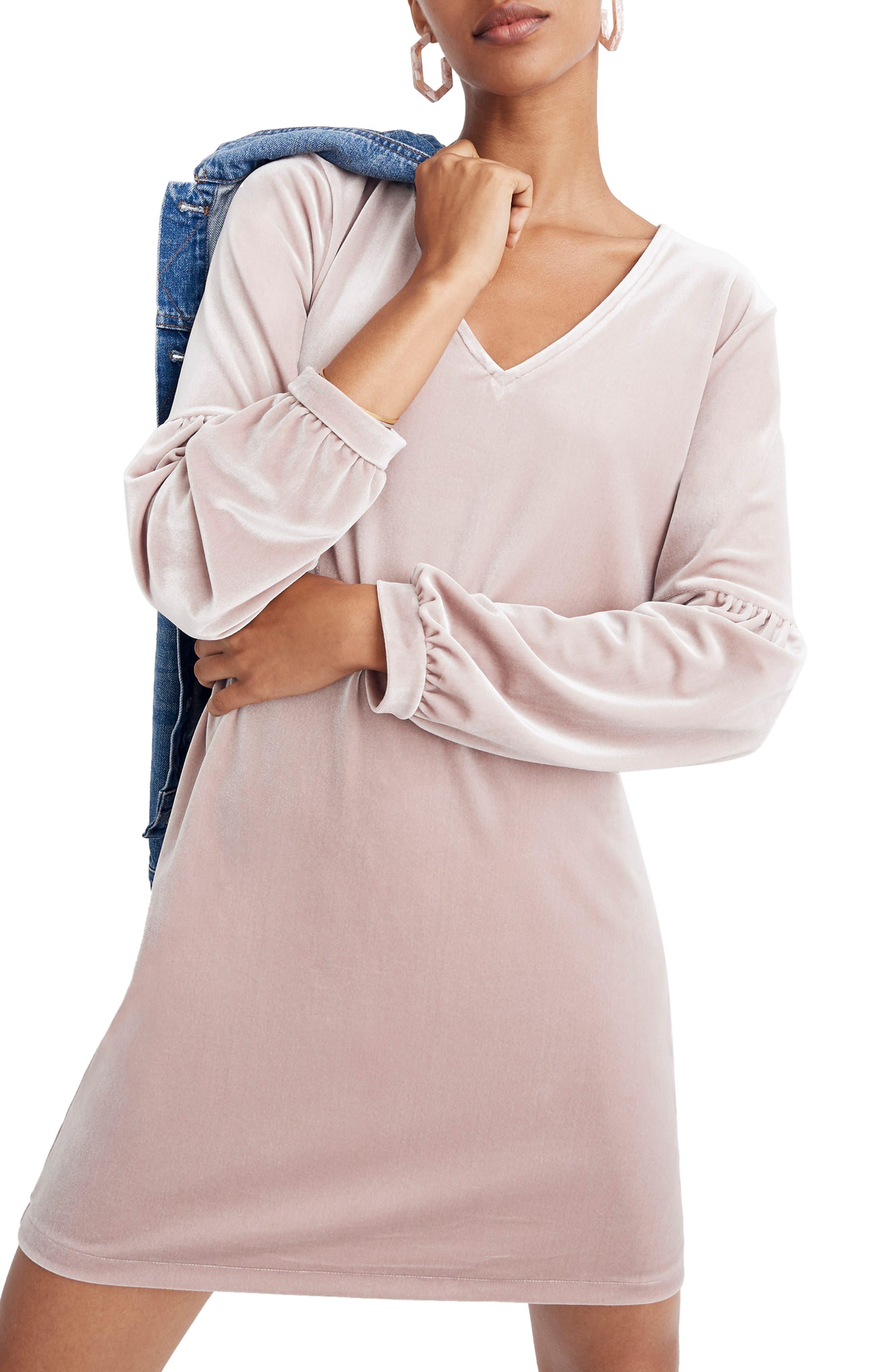Madewell Balloon Sleeve Velvet Dress, Grey