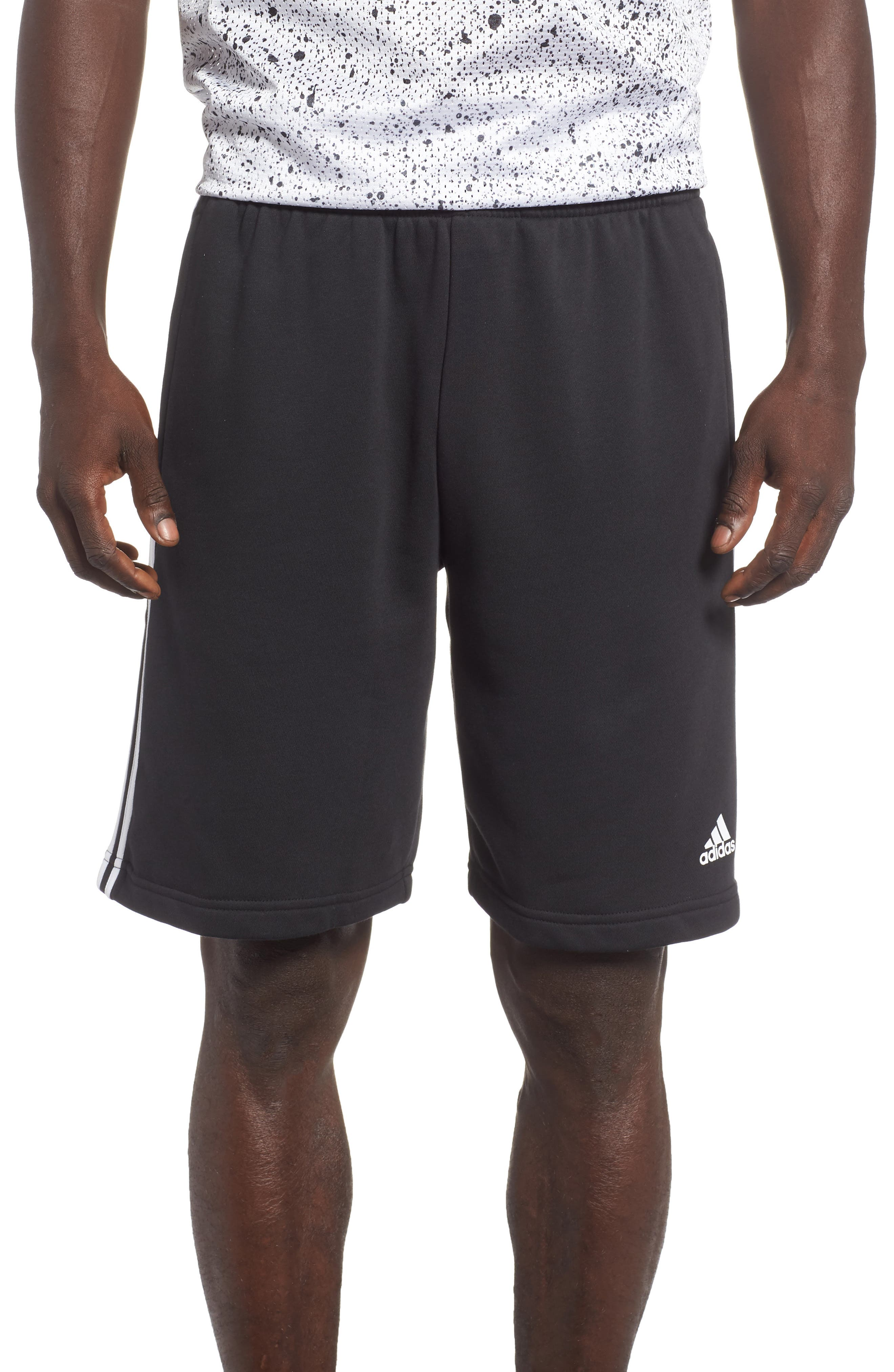 ADIDAS,                             Essentials French Terry Shorts,                             Main thumbnail 1, color,                             BLACK/ WHITE
