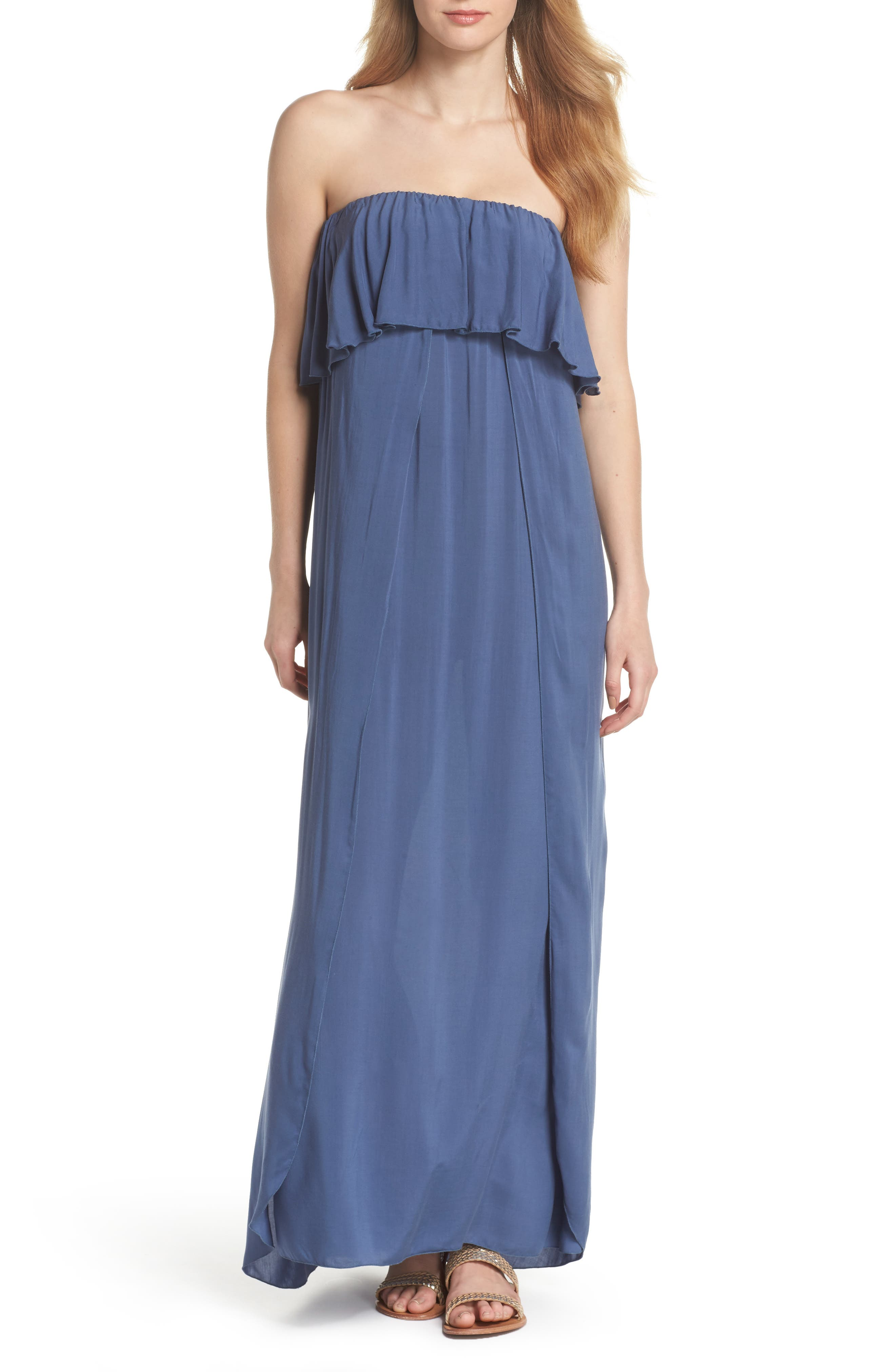 Strapless Maxi Cover-Up Dress,                             Main thumbnail 1, color,