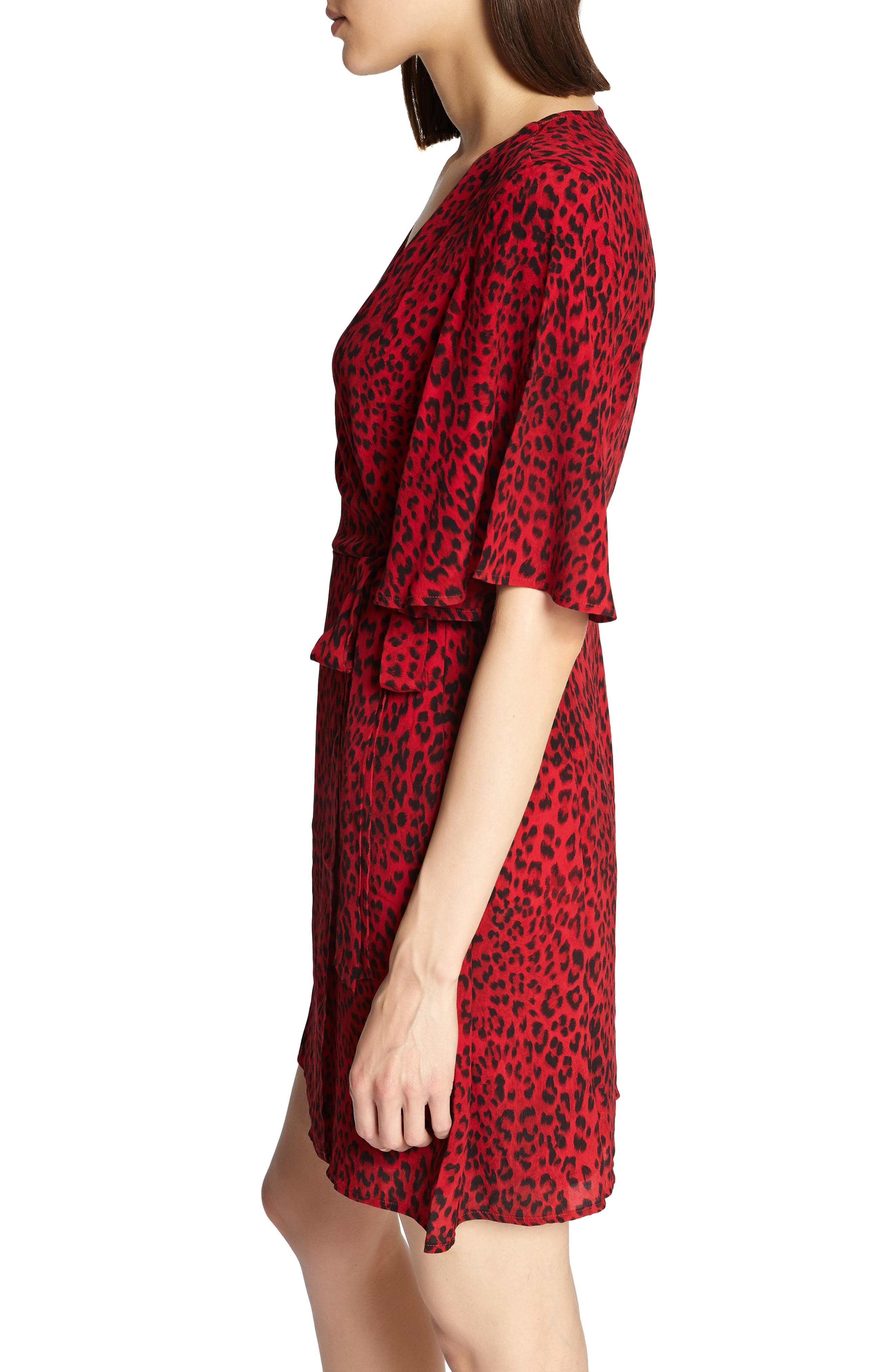 Girl on Fire Leopard Faux Wrap Dress,                             Alternate thumbnail 3, color,                             RED LEOPARD