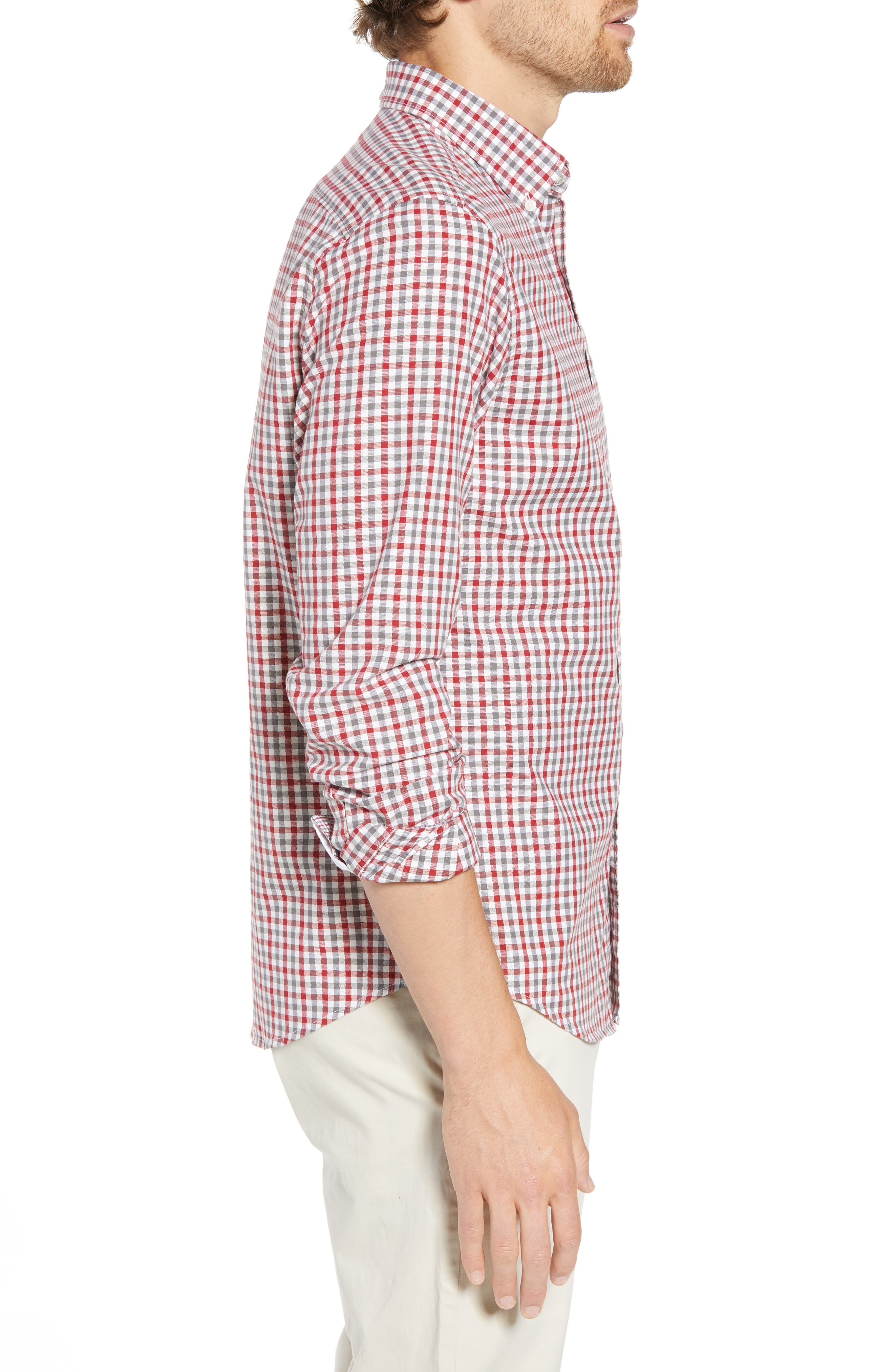 Mod Fit Gingham Woven Shirt,                             Alternate thumbnail 3, color,                             OFF WHITE