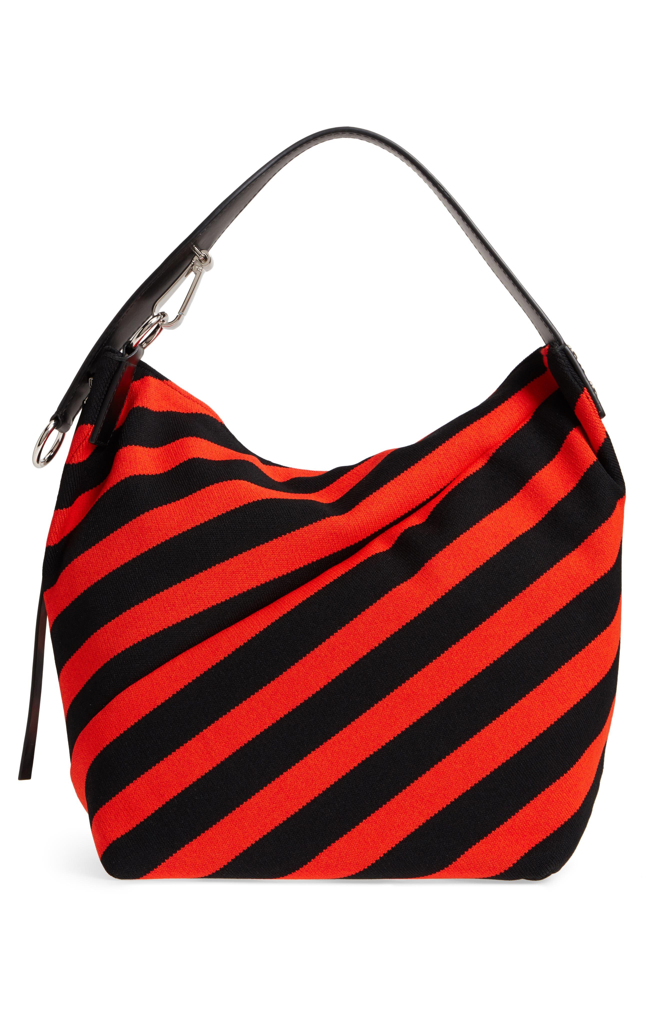 Medium Asymmetric Zip Stripe Textile Hobo,                             Alternate thumbnail 3, color,                             BLACK/ HOT CORAL