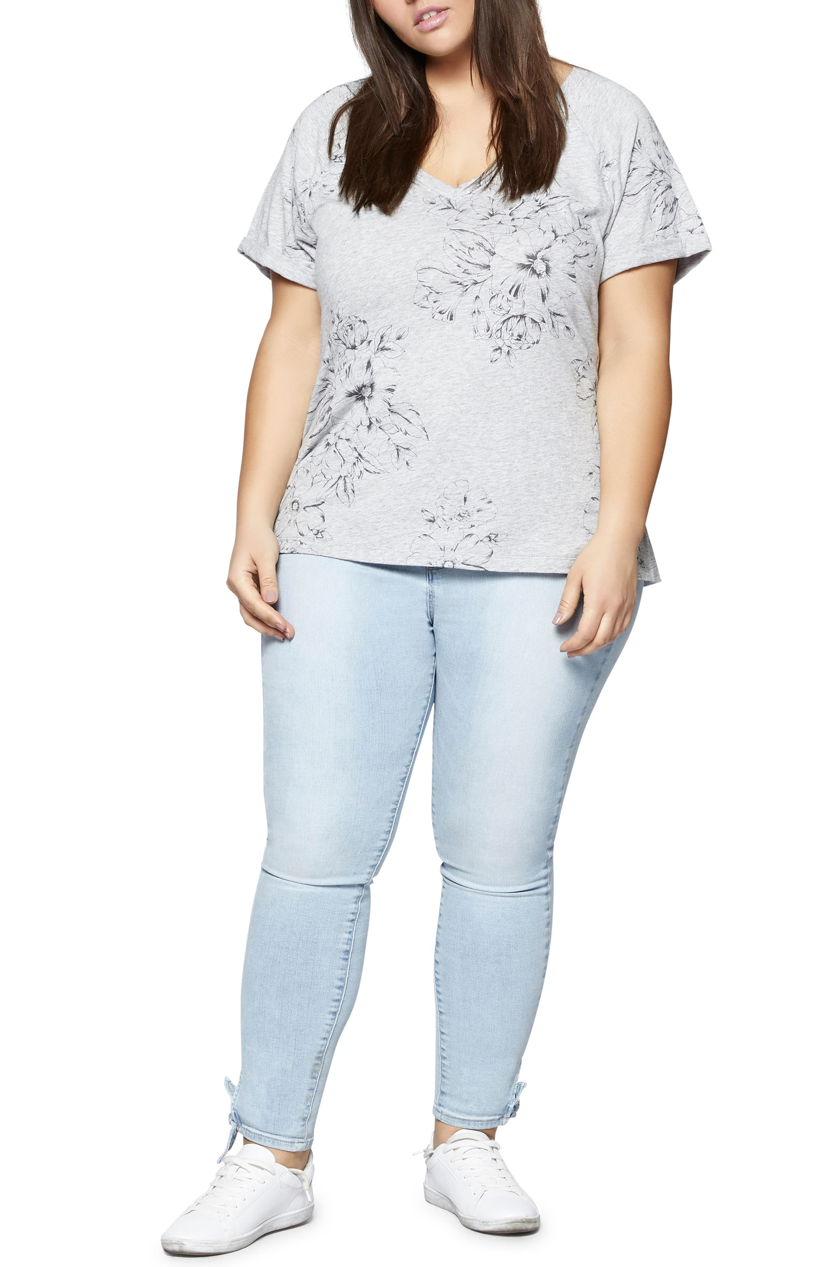 Hibiscus V-Neck Tee,                             Alternate thumbnail 3, color,                             032