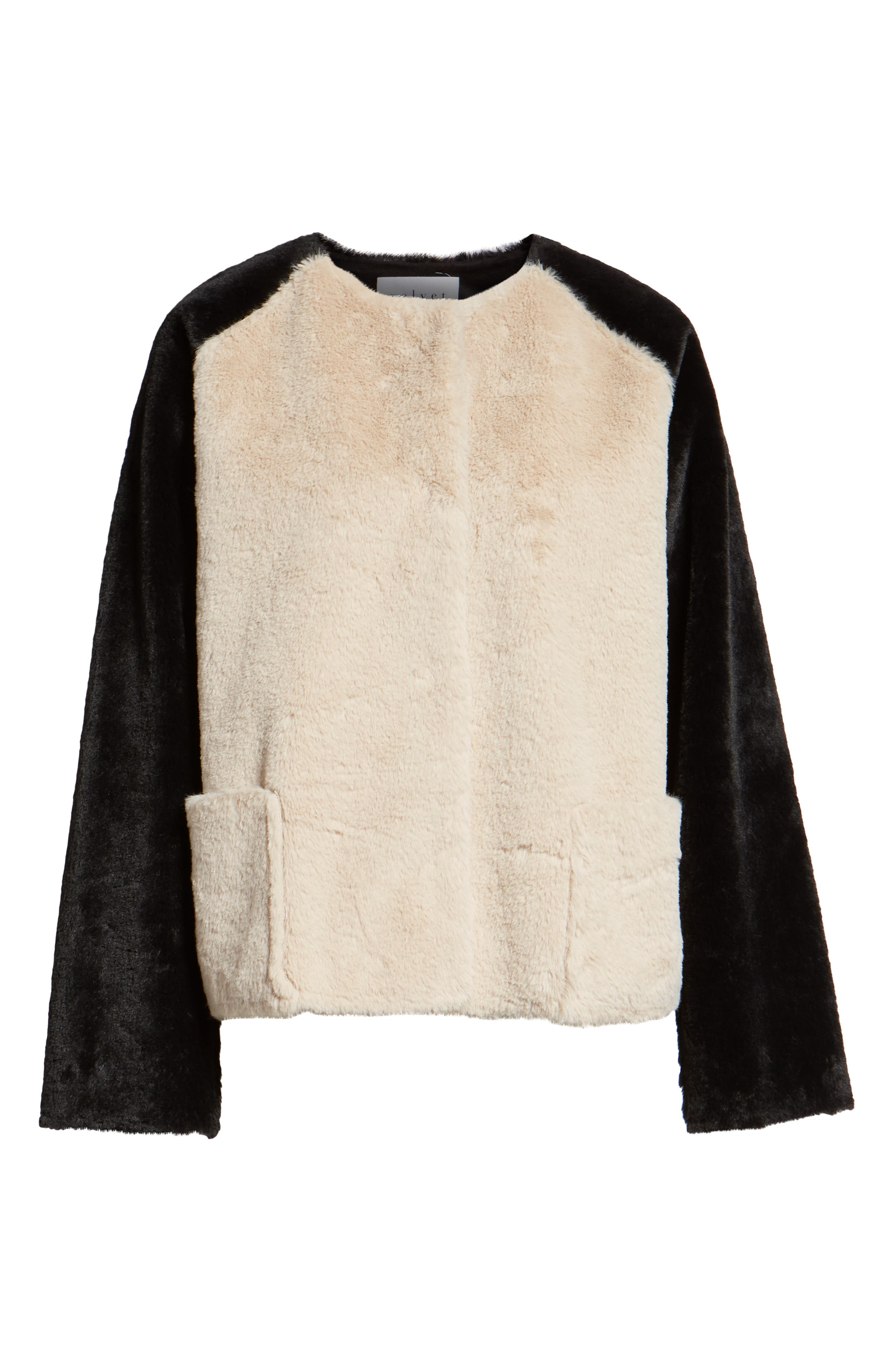 Colorblock Faux Fur Jacket,                             Alternate thumbnail 6, color,                             MULTI