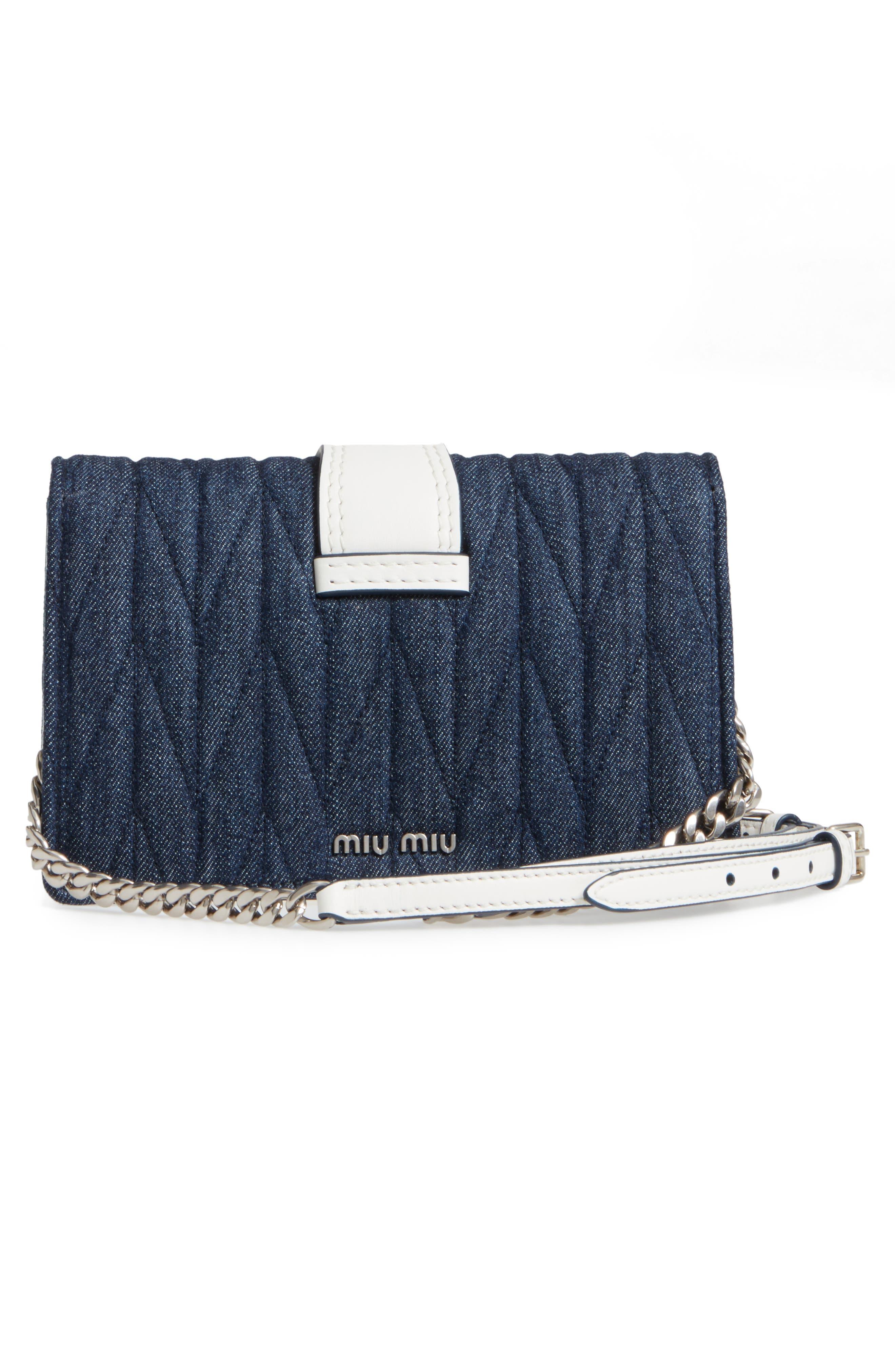 Matelassé Denim Embellished Shoulder Bag,                             Alternate thumbnail 3, color,                             BLU/ BIANCO