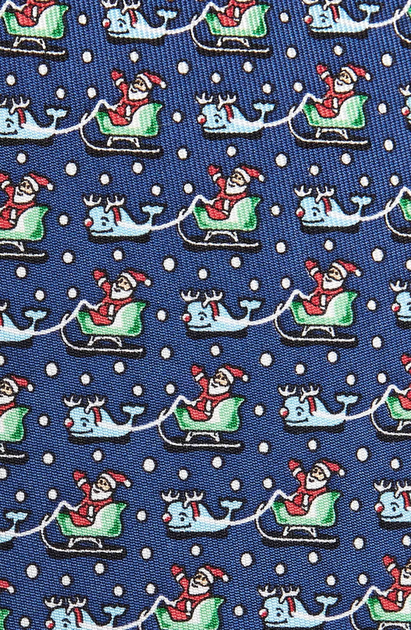 Santa & Whale Reindeer Silk Tie,                             Alternate thumbnail 2, color,                             NAVY