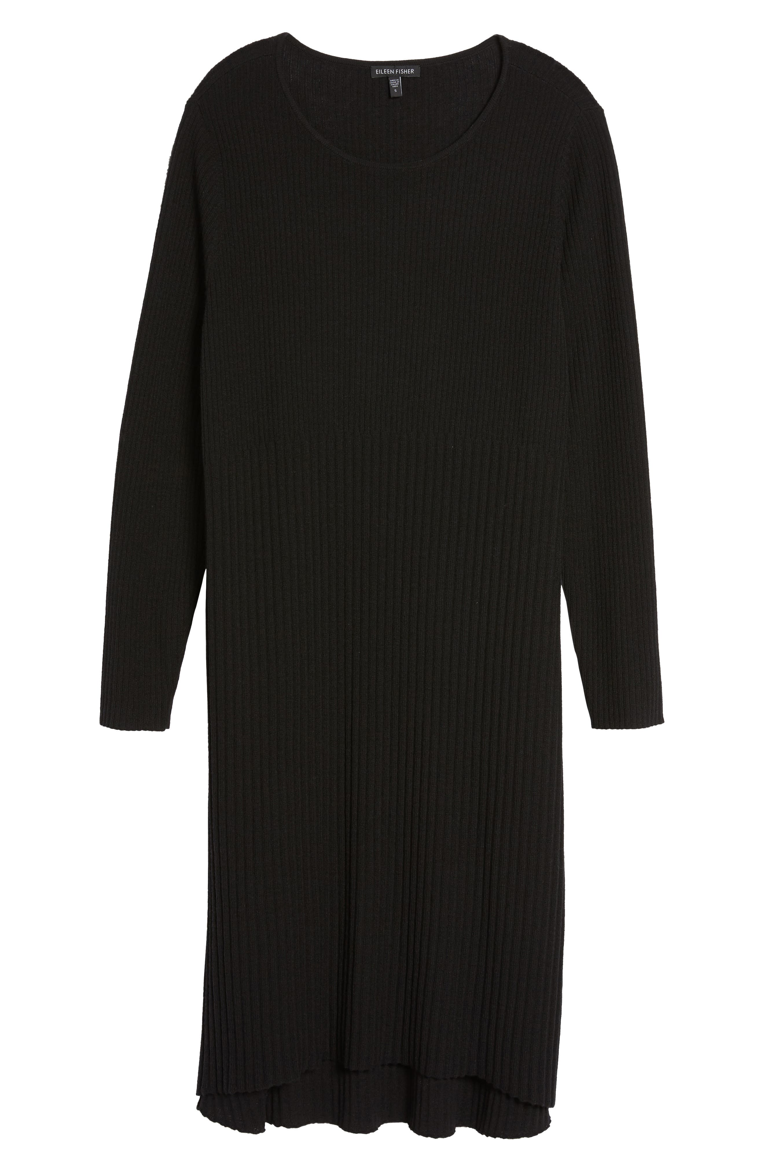 Ribbed Wool Sweater Dress,                             Alternate thumbnail 6, color,                             001