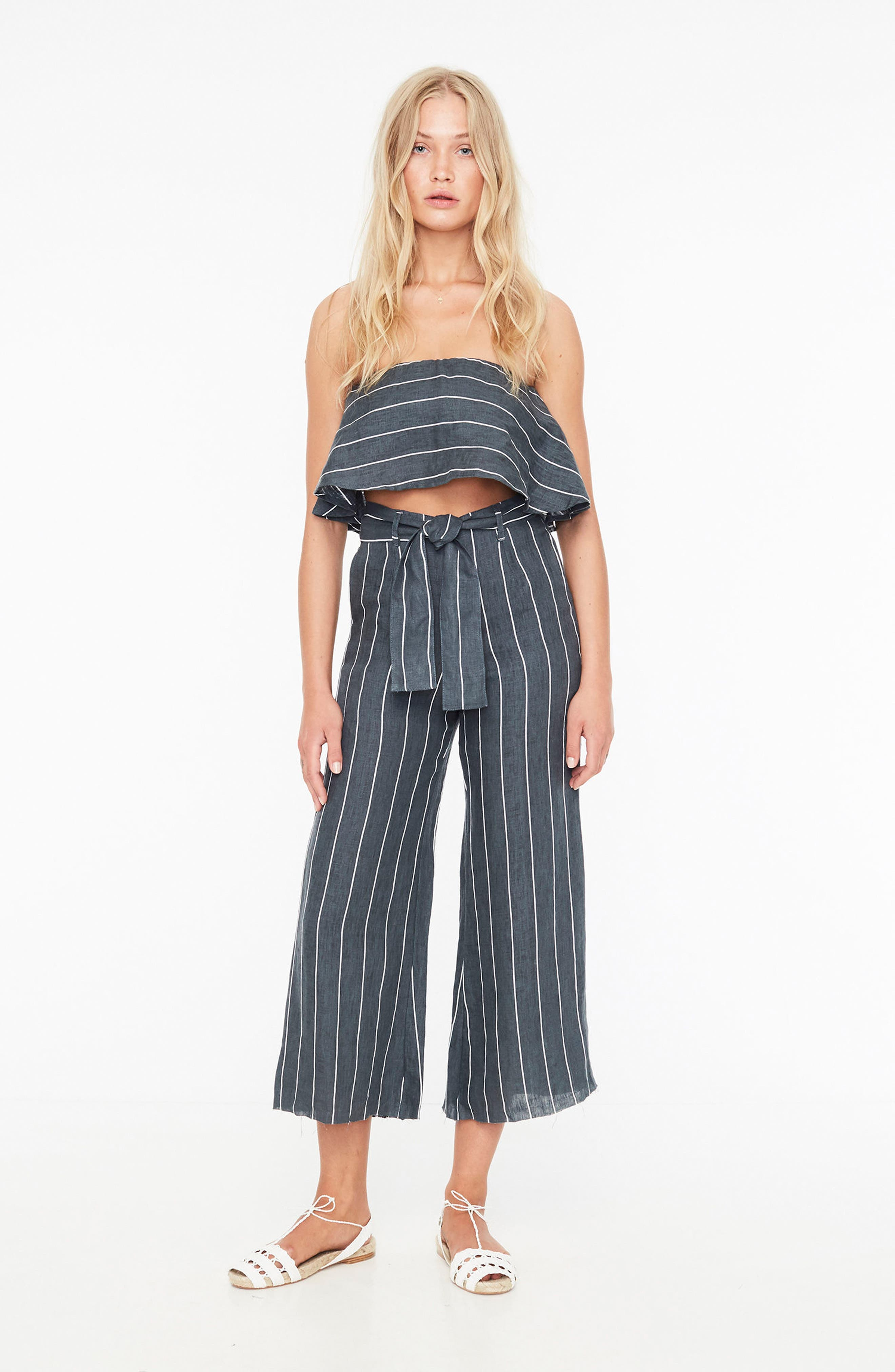Solana Stripe Strapless Linen Crop Top,                             Alternate thumbnail 10, color,                             700