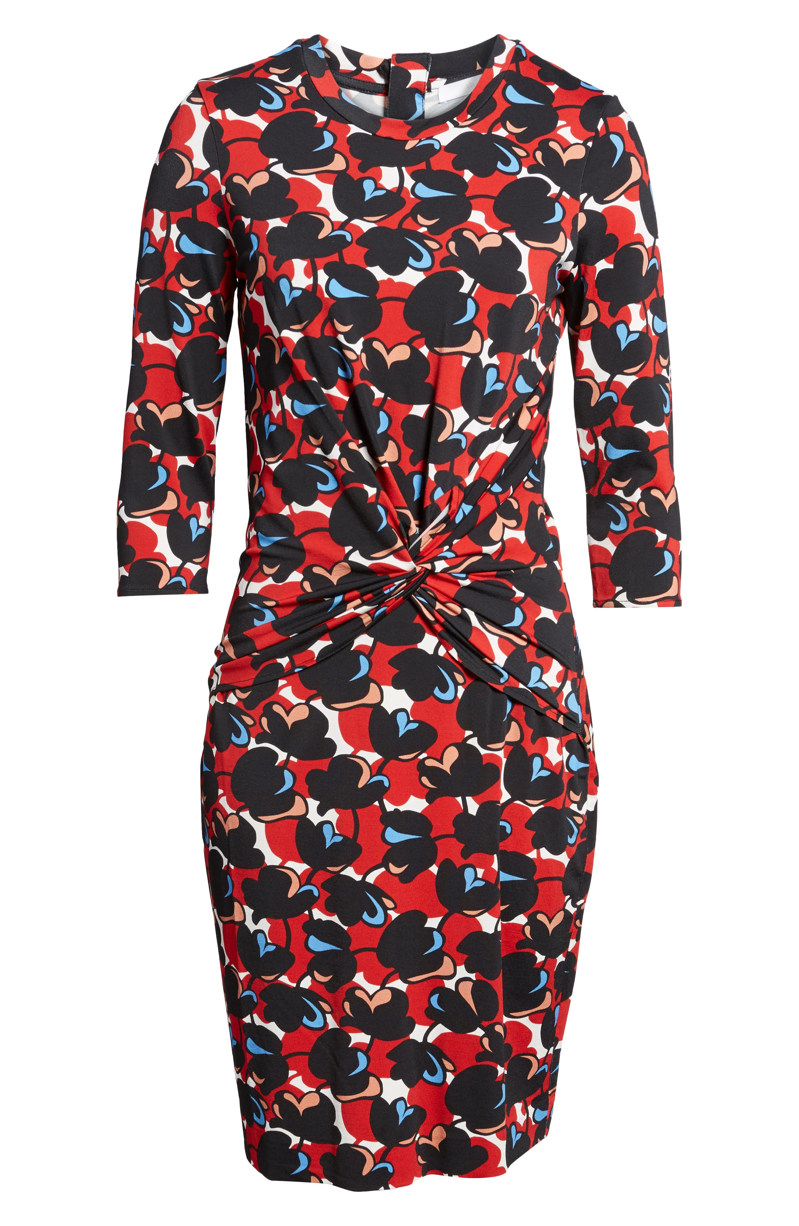 Eleika Print Jersey Sheath Dress,                             Alternate thumbnail 6, color,                             002