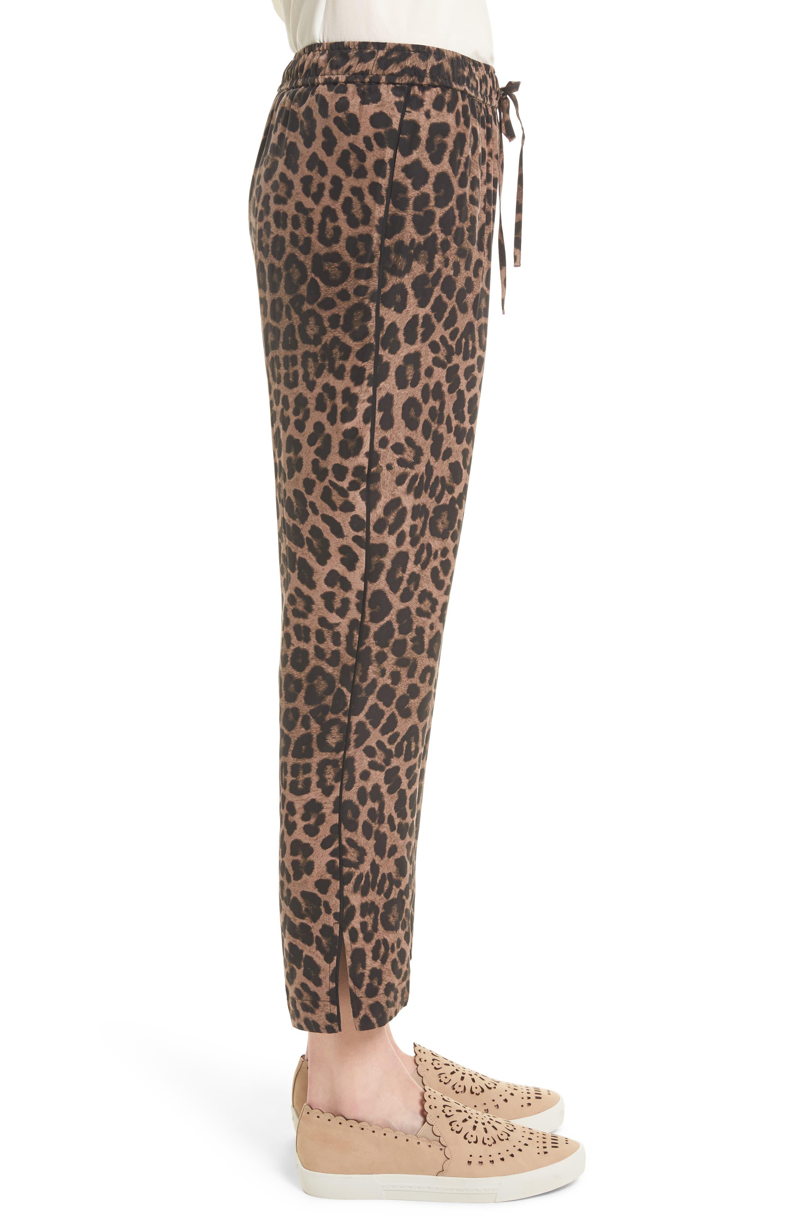 Ayanna B Leopard Print Silk Crop Pants,                             Alternate thumbnail 3, color,                             005