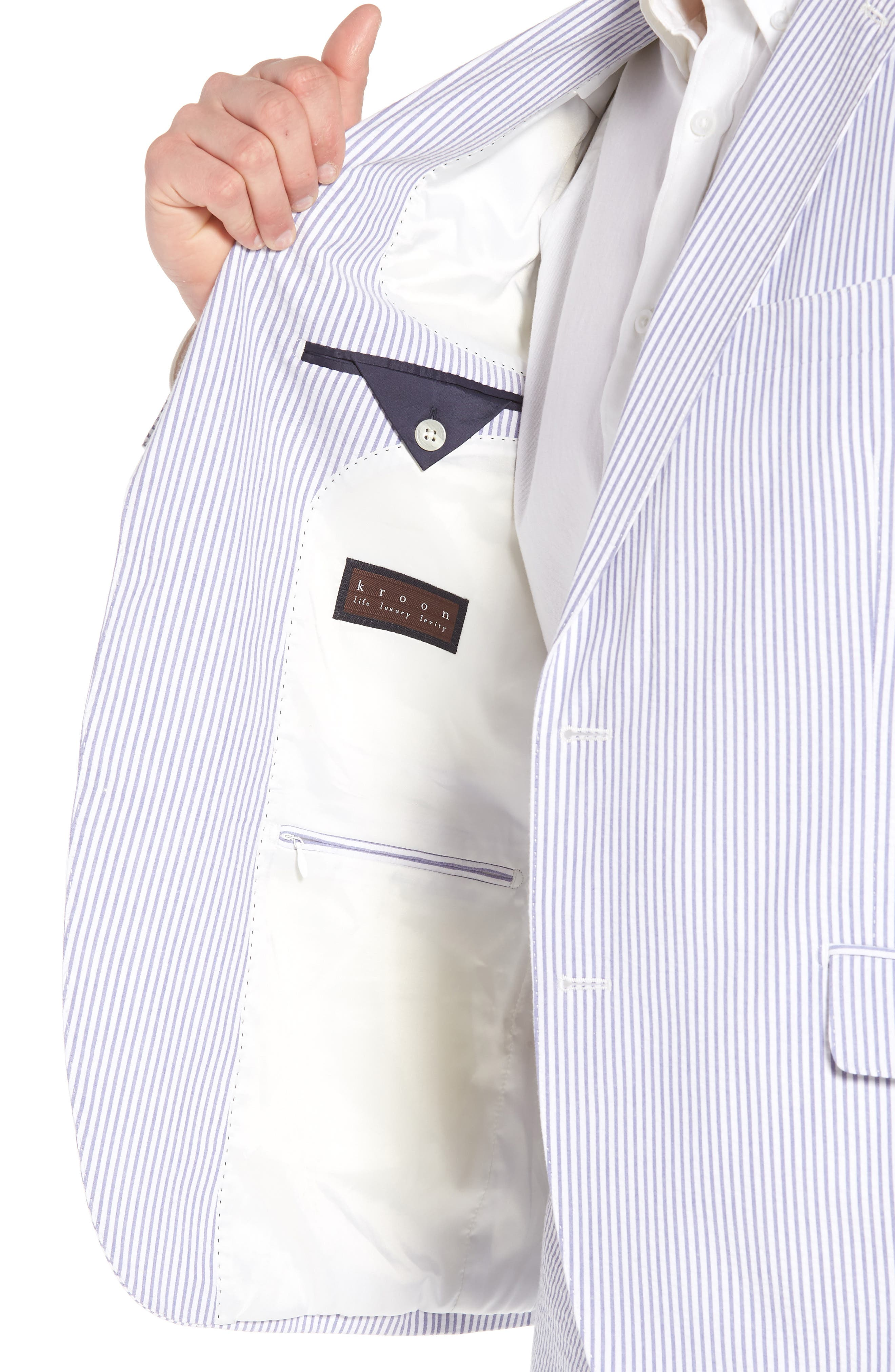 Jack AIM Classic Fit Seersucker Sport Coat,                             Alternate thumbnail 4, color,                             BLUE AND WHITE