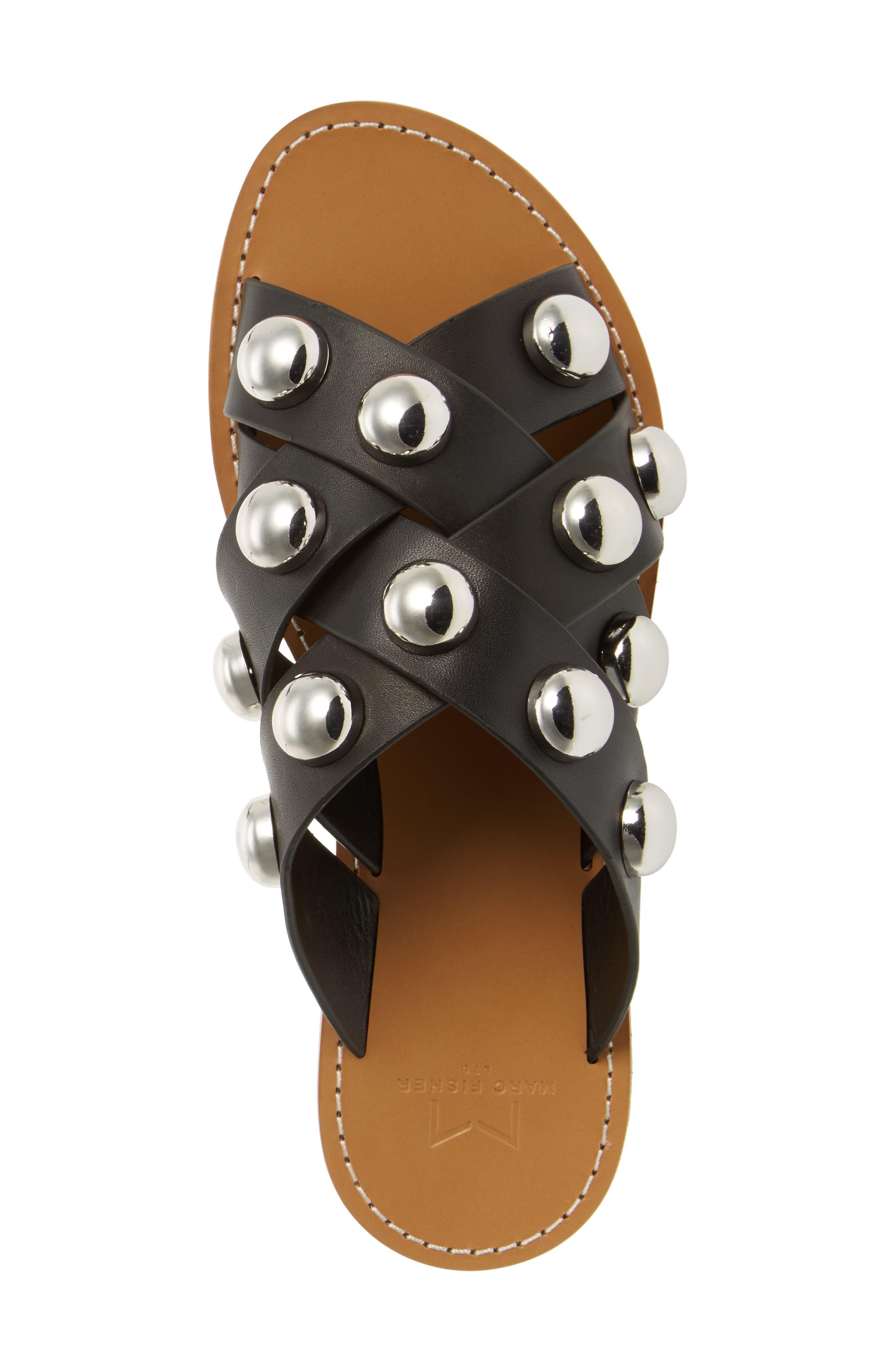 MARC FISHER LTD,                             Raidan Studded Sandal,                             Alternate thumbnail 5, color,                             001