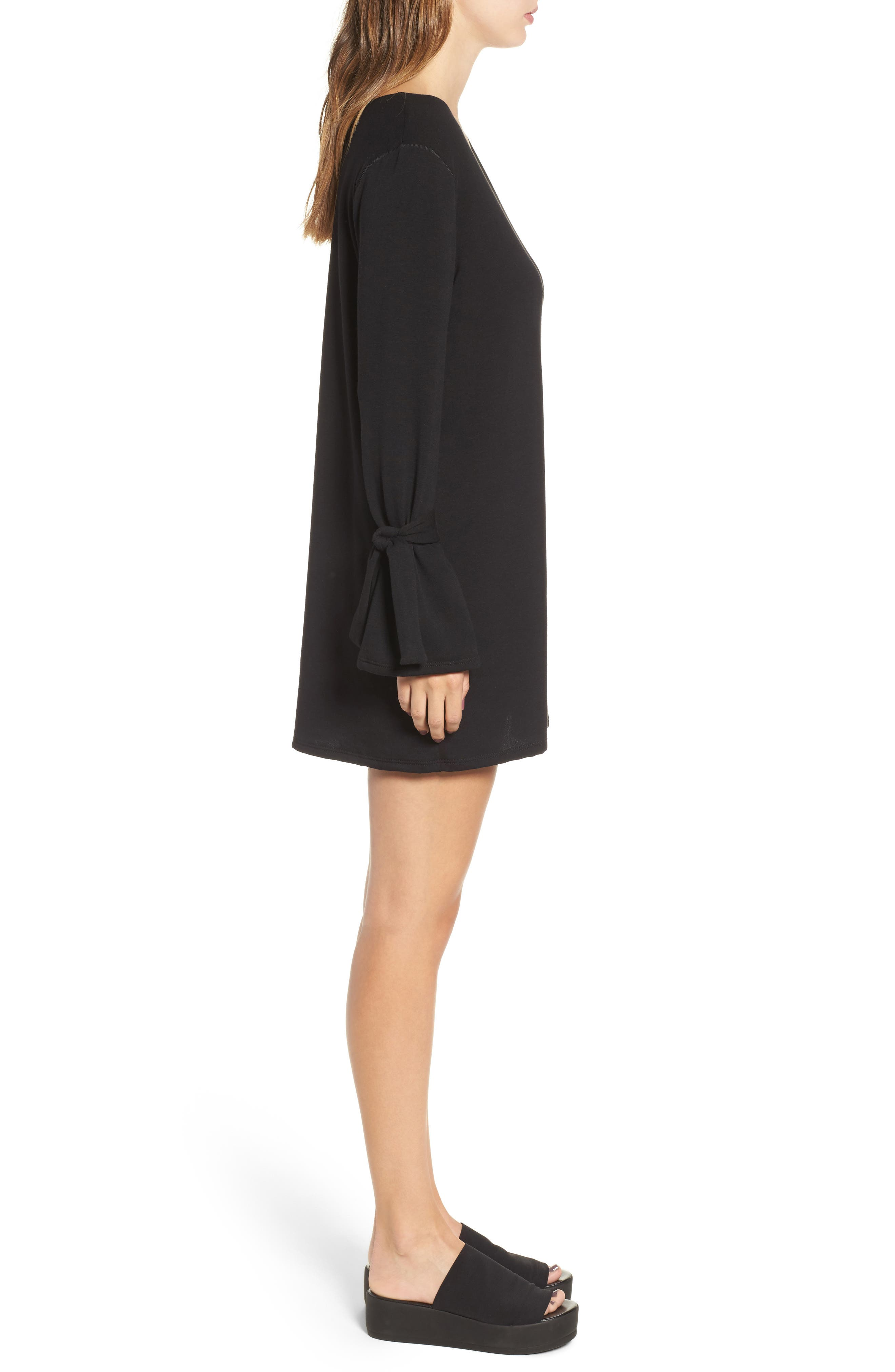 Tie Sleeve Shift Dress,                             Alternate thumbnail 3, color,                             001