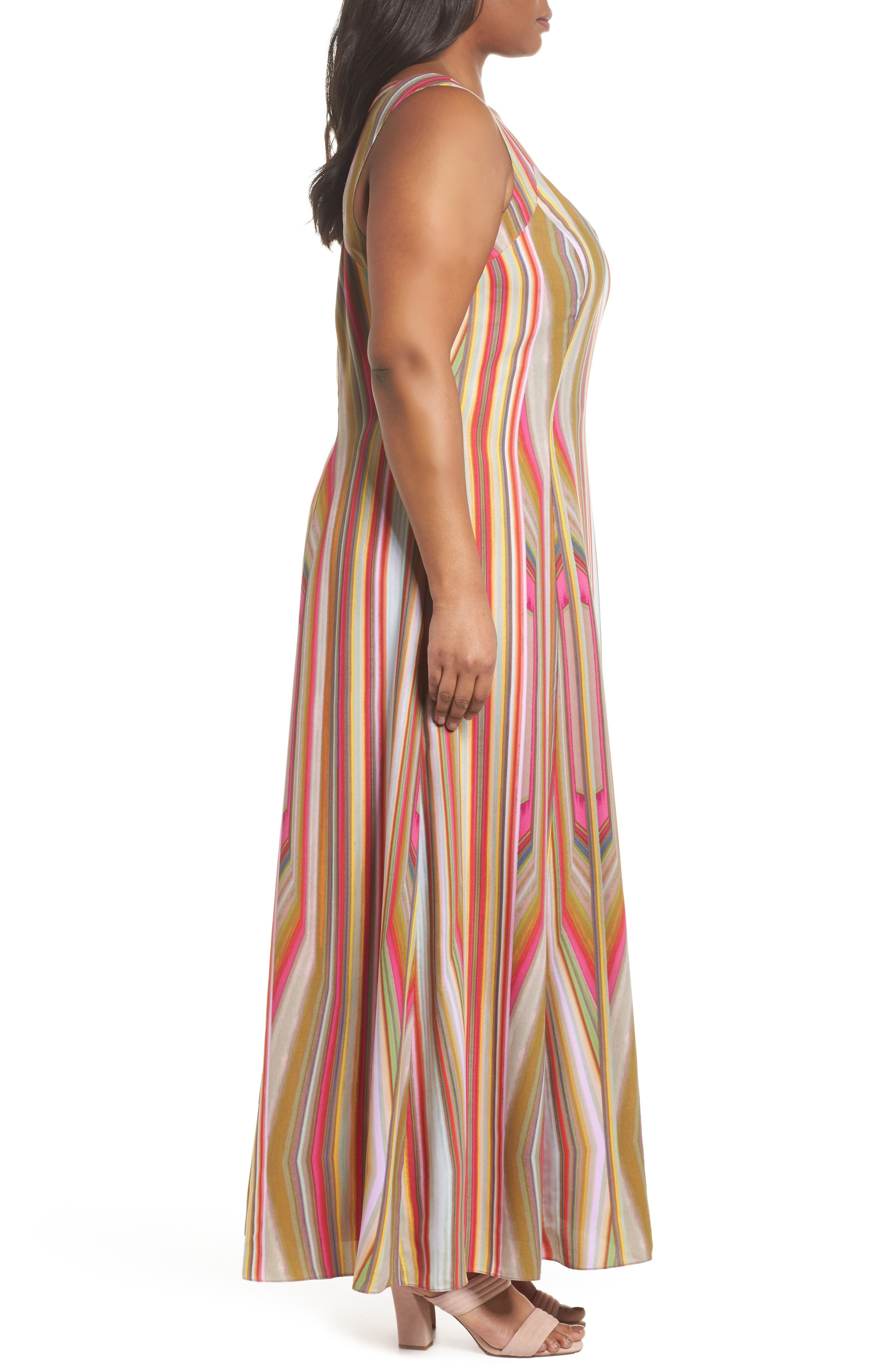 Stripe Strappy Maxi Dress,                             Alternate thumbnail 3, color,                             766